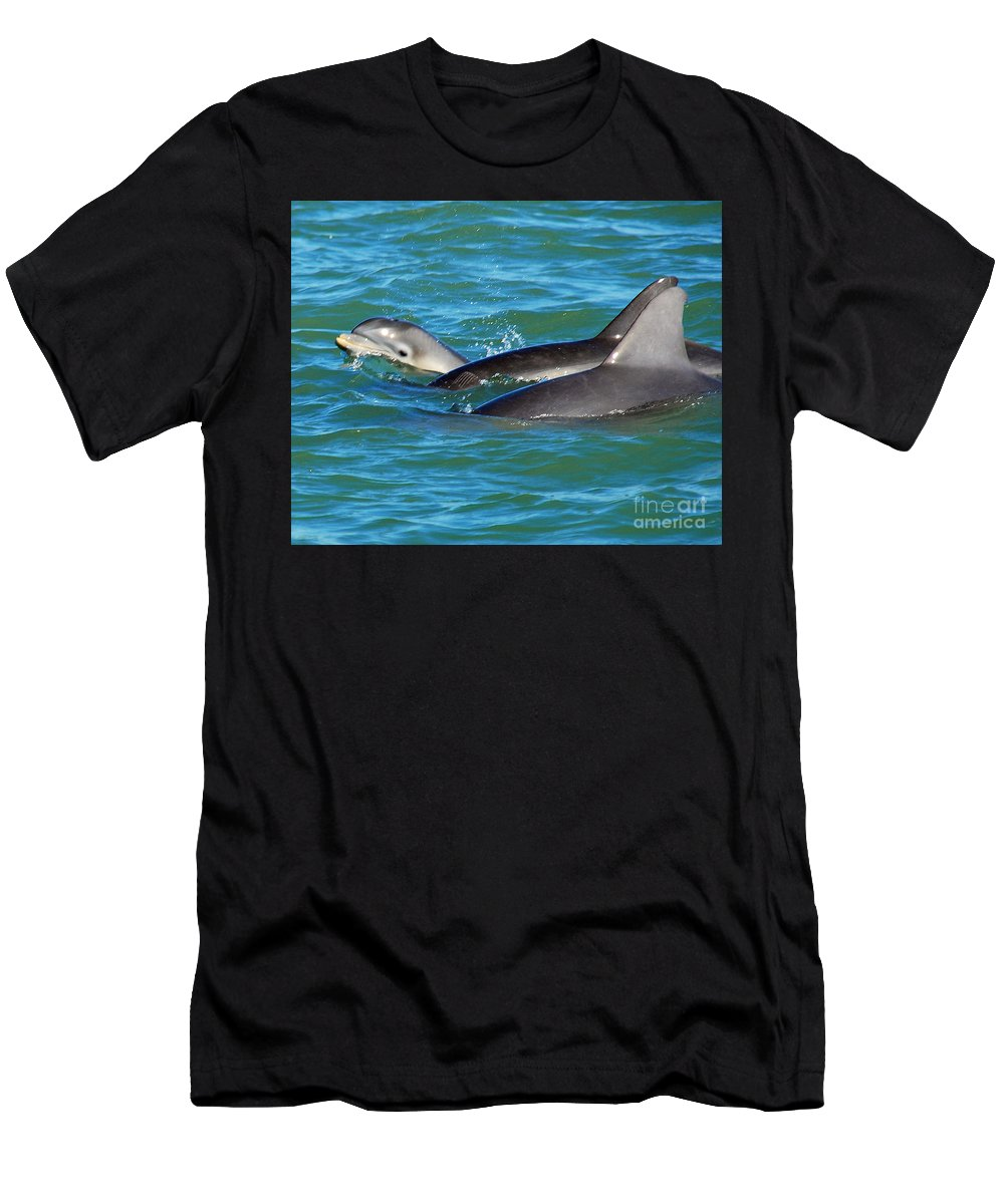 Dolphins Men's T-Shirt (Athletic Fit) featuring the photograph Dolphins by Stephen Whalen