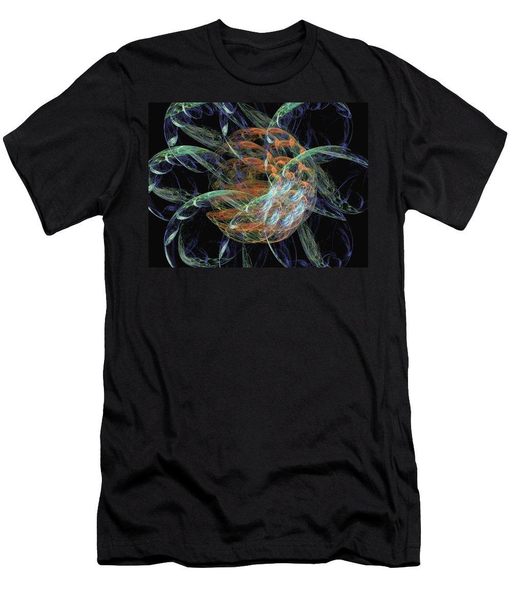 Fractal Art Men's T-Shirt (Athletic Fit) featuring the digital art Donut Flowers by Richard J Cassato