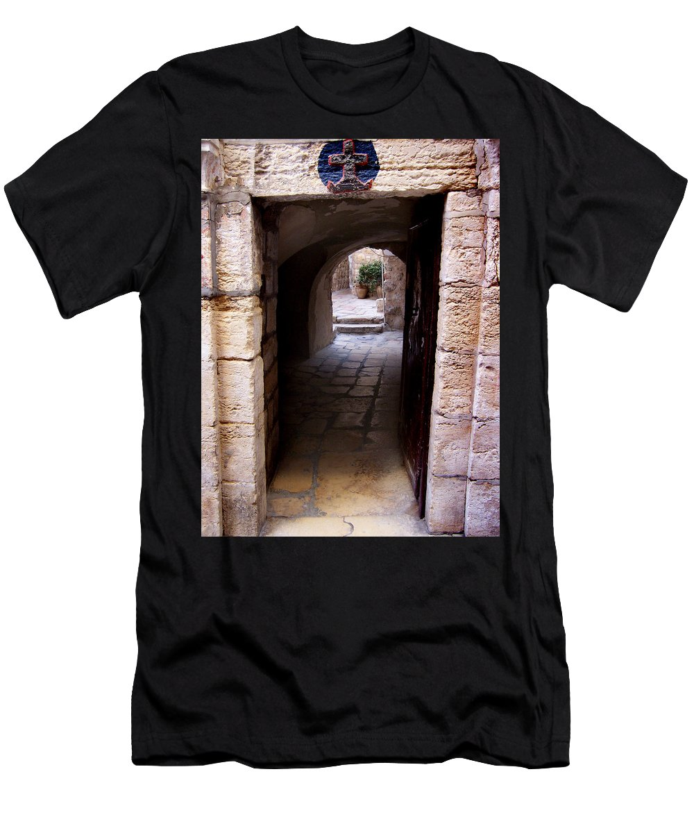 Doors Men's T-Shirt (Athletic Fit) featuring the photograph Doorway In Old City Jerusalem by David T Wilkinson