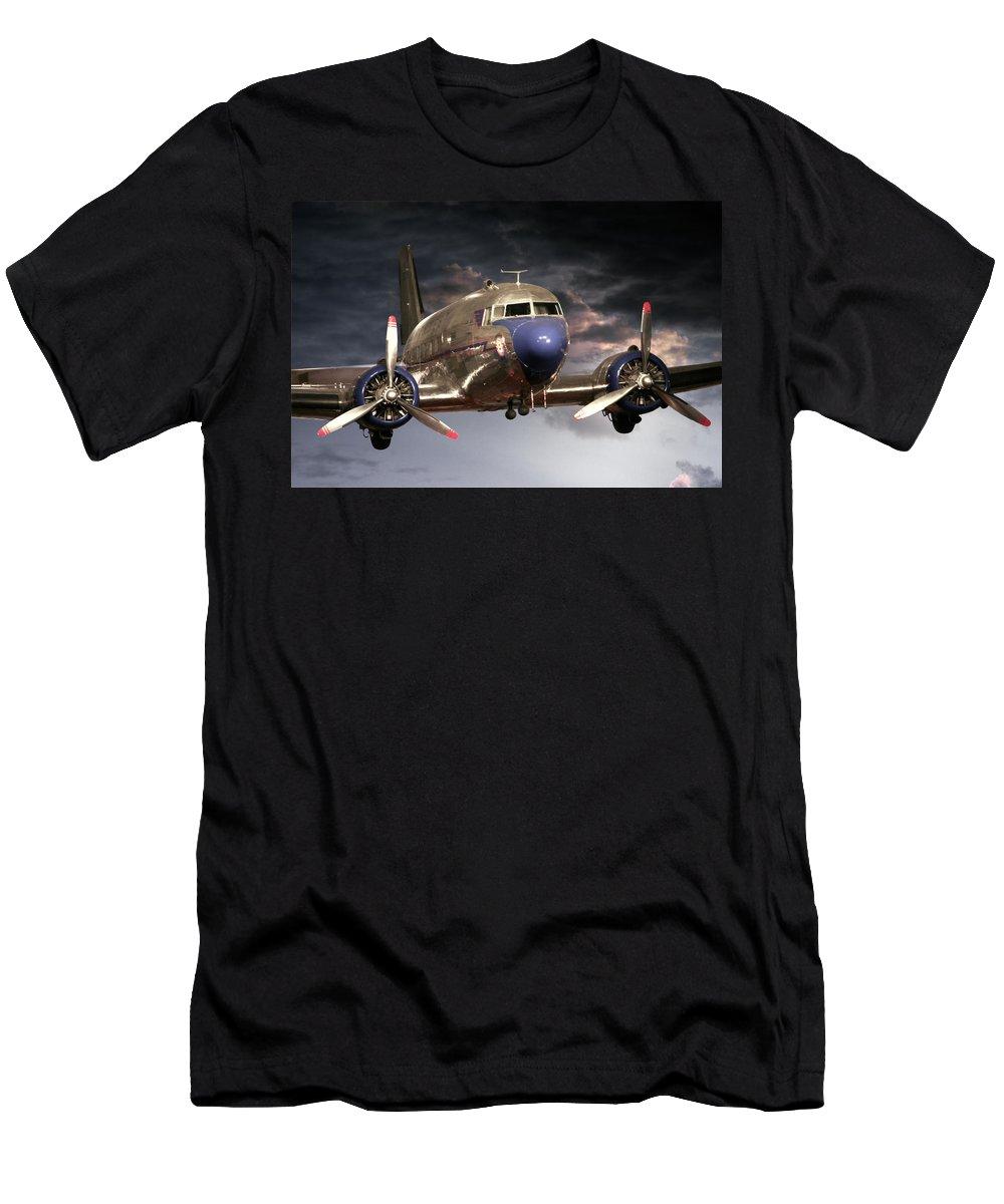 Plane Men's T-Shirt (Athletic Fit) featuring the photograph Douglas Dc 3 by John Haldane