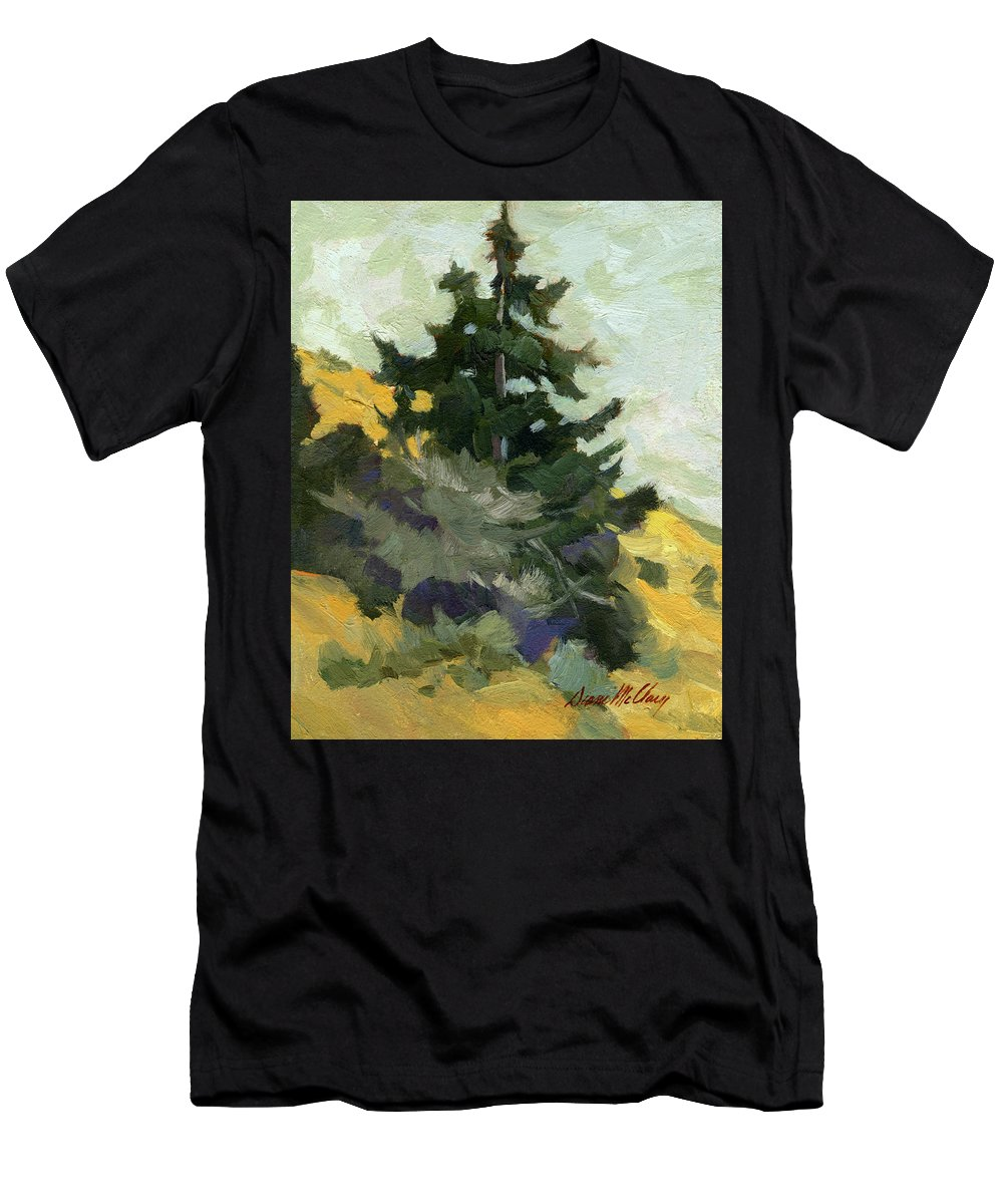 Douglas Fir Men's T-Shirt (Athletic Fit) featuring the painting Douglas Fir In Washington by Diane McClary