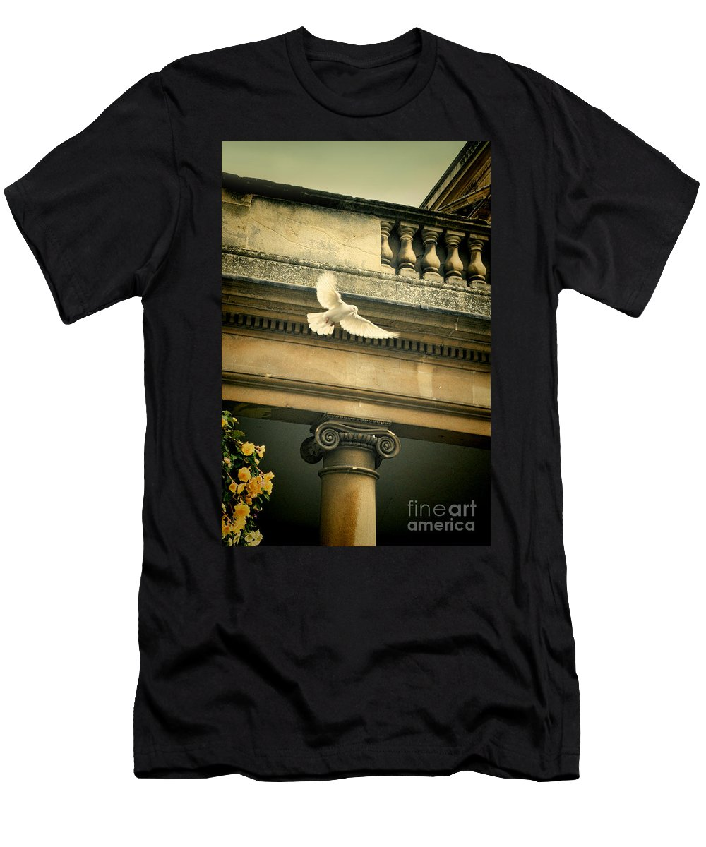 Dove Men's T-Shirt (Athletic Fit) featuring the photograph Dove In Flight by Jill Battaglia