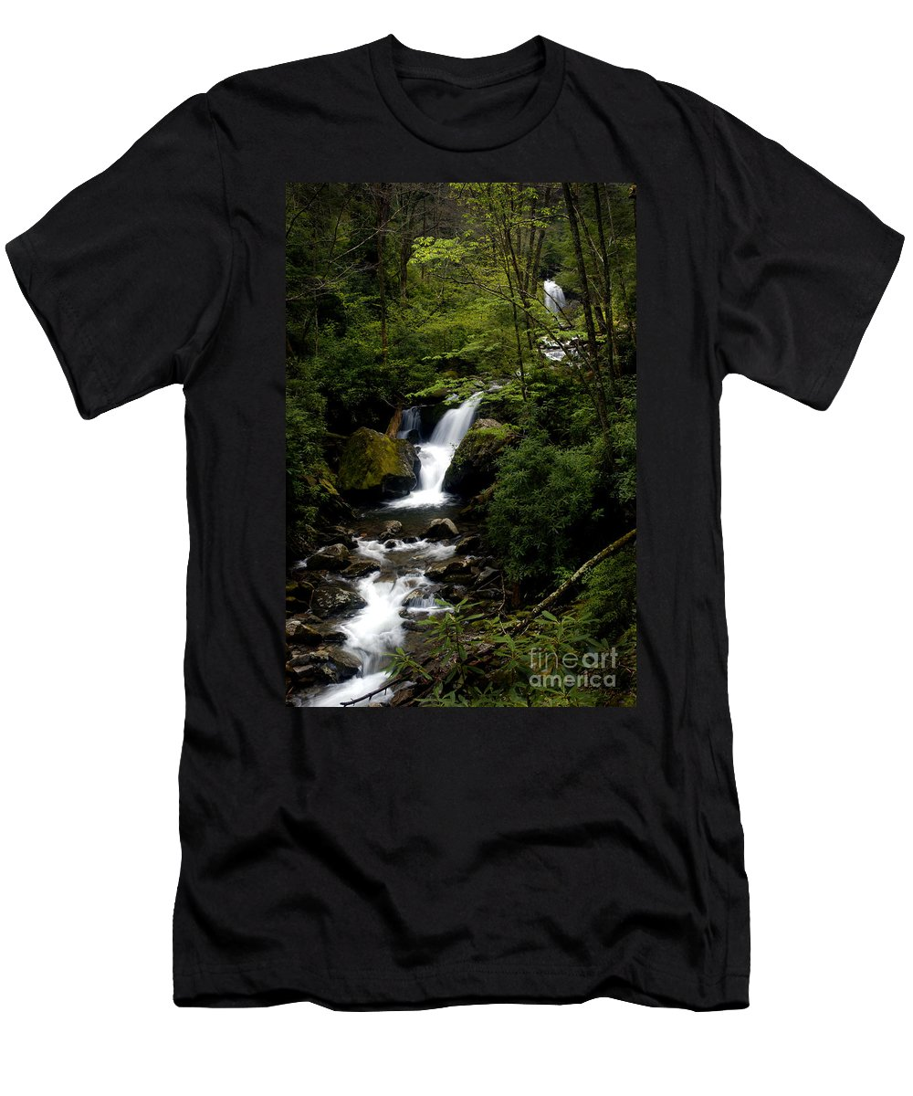 Water Men's T-Shirt (Athletic Fit) featuring the photograph Down From The Hills by Paul W Faust - Impressions of Light