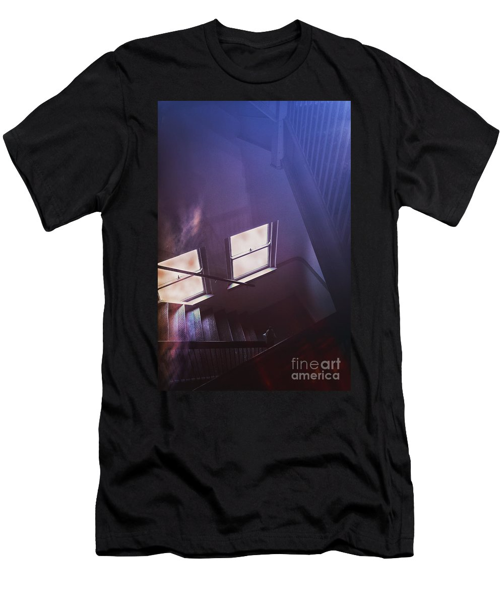 Stairs Men's T-Shirt (Athletic Fit) featuring the photograph Down The Stairs by Margie Hurwich