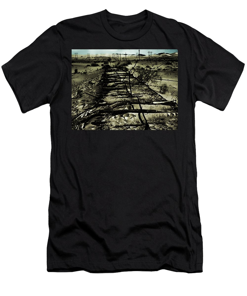 Men's T-Shirt (Athletic Fit) featuring the digital art Down The Tracks by Cathy Anderson