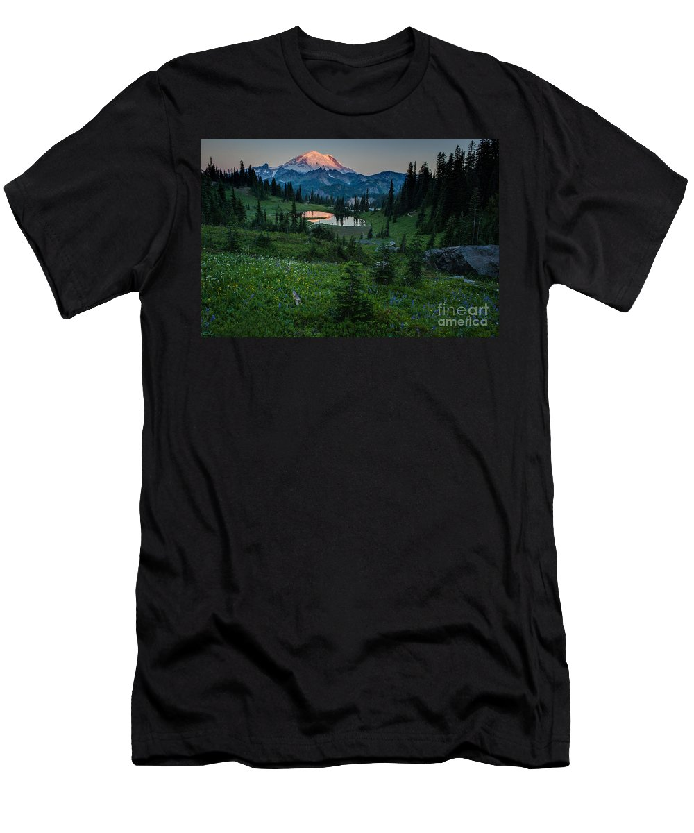 Rainier Men's T-Shirt (Athletic Fit) featuring the photograph Down The Valley To Rainier by Mike Reid