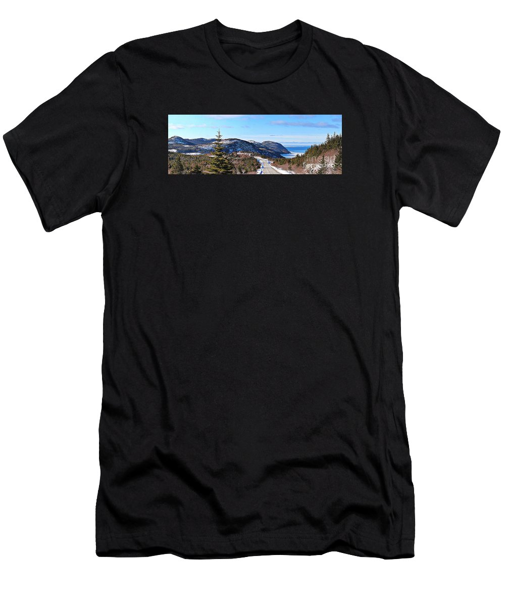 Barbara Griffin Men's T-Shirt (Athletic Fit) featuring the photograph Down To The Sea - Oceanview - Hillview by Barbara Griffin