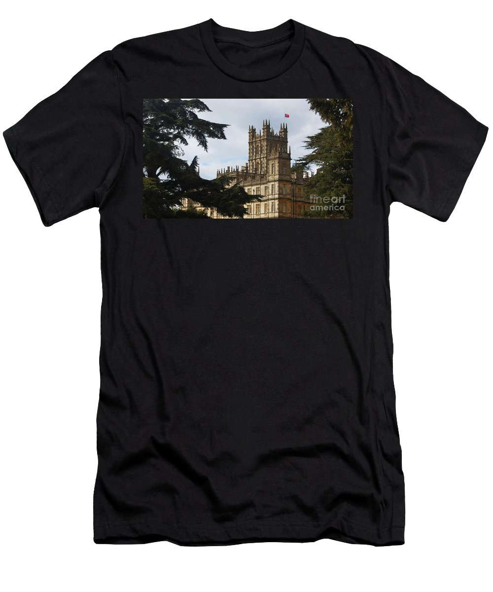 Downton Abbey Photography High Clere Castle Photography Iconic Building Photography Landmark Photography Legendary Television Show Photography Gothic Design Photography Ancient Trees Greeting Card For A Downton Fan Canvas Print Highly Recommended Phone Case Art Throw Pillow Art Duvet Cover Tote Bag Art Shower Curtain Art T Shirt Art Men's T-Shirt (Athletic Fit) featuring the photograph Downton Abbey Framed By Trees by Marcus Dagan