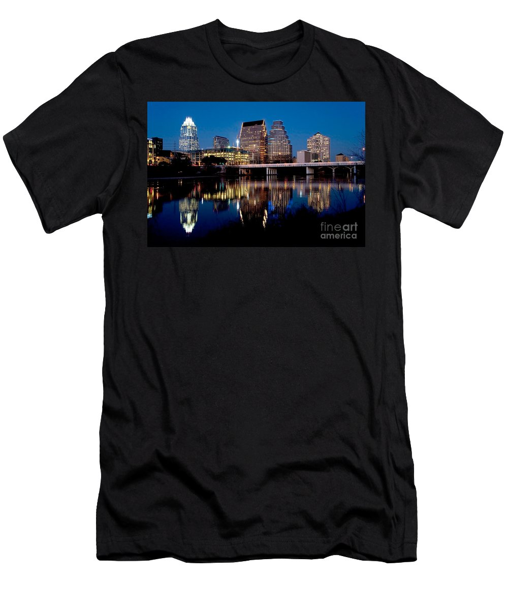 Austin Men's T-Shirt (Athletic Fit) featuring the photograph Downtown At Dusk by Bill Cobb