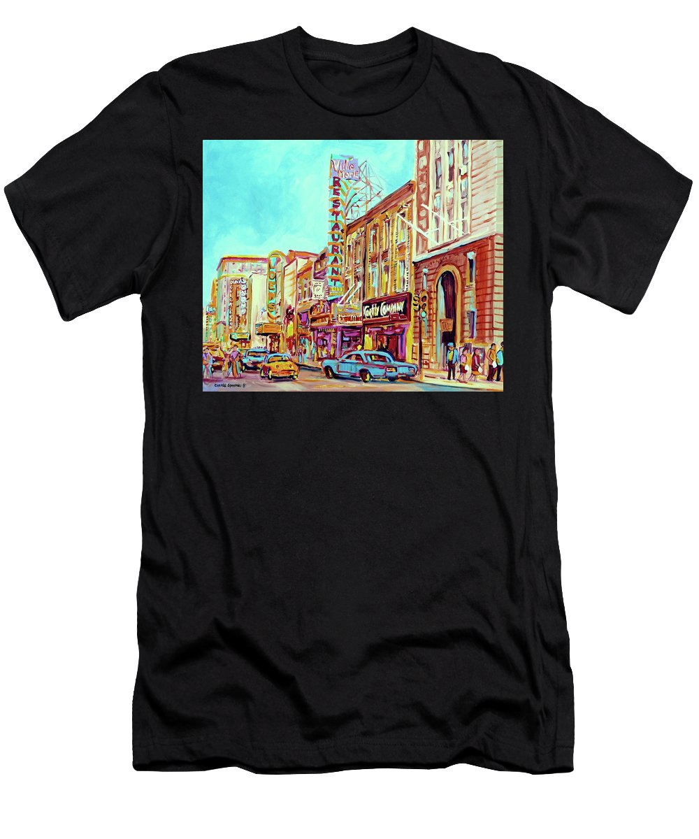 Montreal Men's T-Shirt (Athletic Fit) featuring the painting Downtown Montreal by Carole Spandau