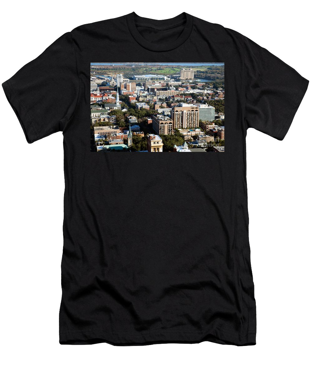 City Men's T-Shirt (Athletic Fit) featuring the photograph Downtown Savannah by Bill Cobb