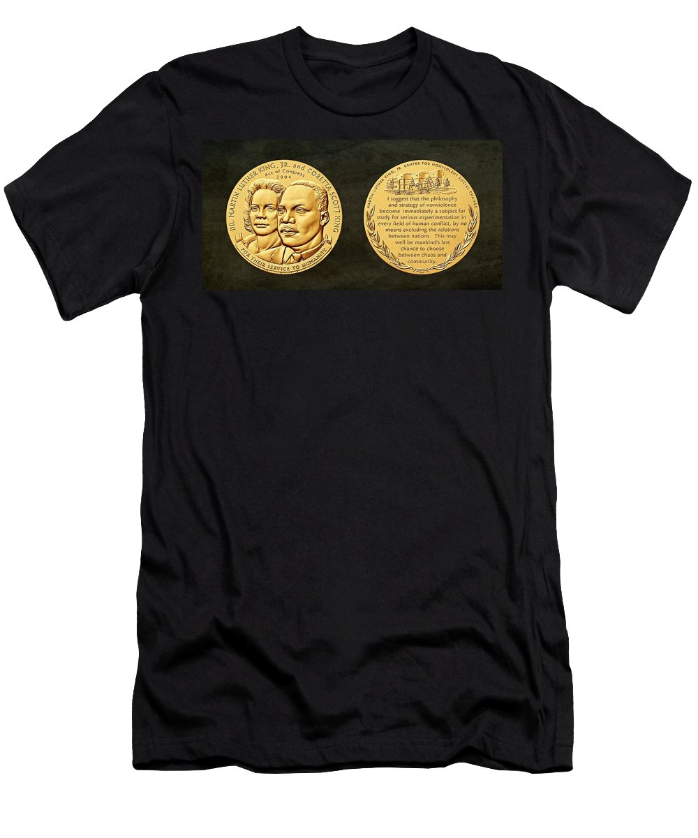 Dr. Martin Luther King Men's T-Shirt (Athletic Fit) featuring the photograph Dr Martin Luther King Jr And Coretta Scott King Bronze Medal Art by Movie Poster Prints