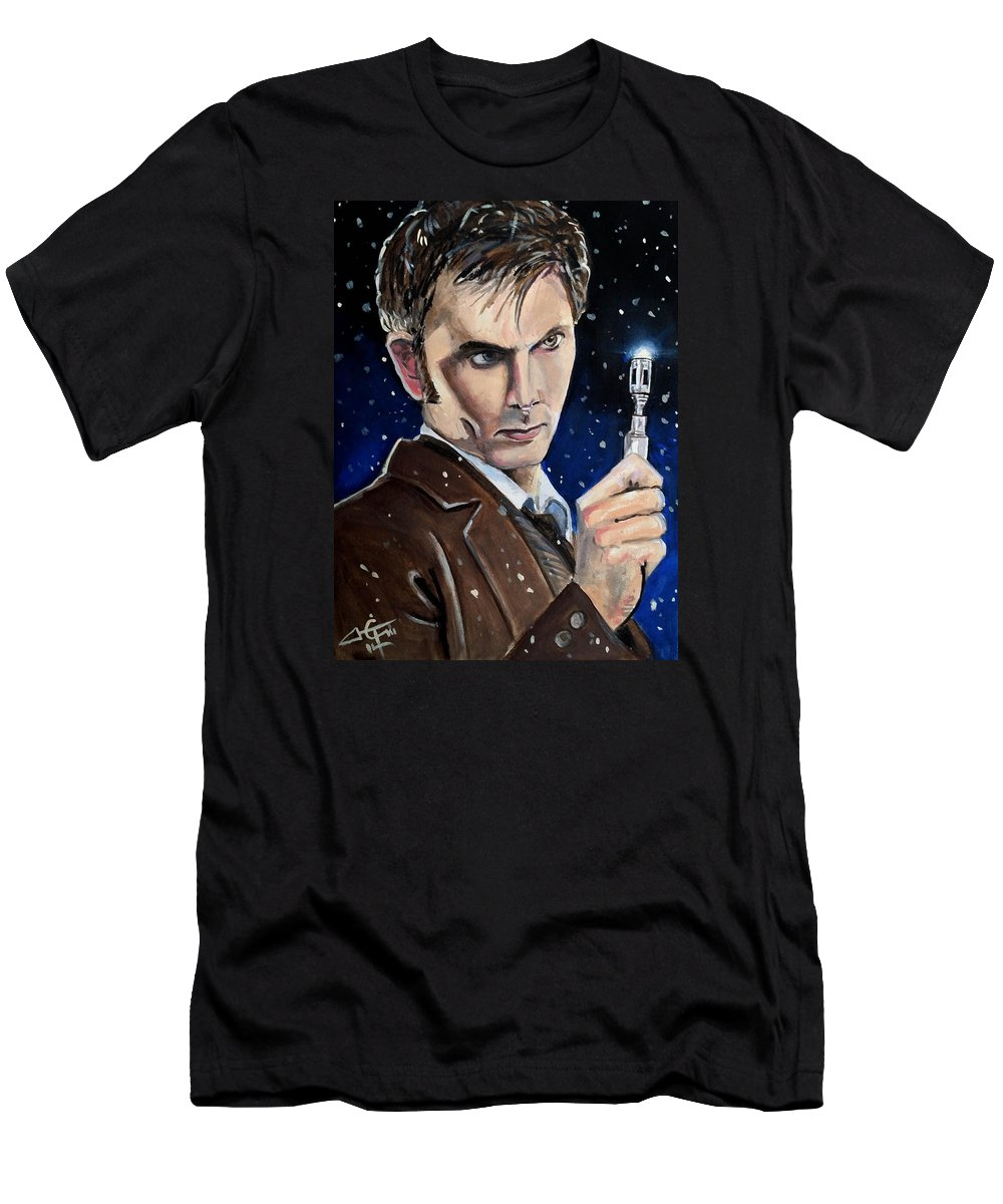 Dr Who Men's T-Shirt (Athletic Fit) featuring the painting Dr Who #10 - David Tennant by Tom Carlton