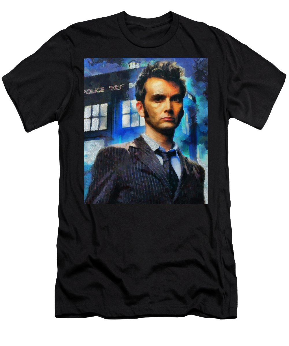 Drwho Men's T-Shirt (Athletic Fit) featuring the painting Dr Who Number 10 by Janice MacLellan