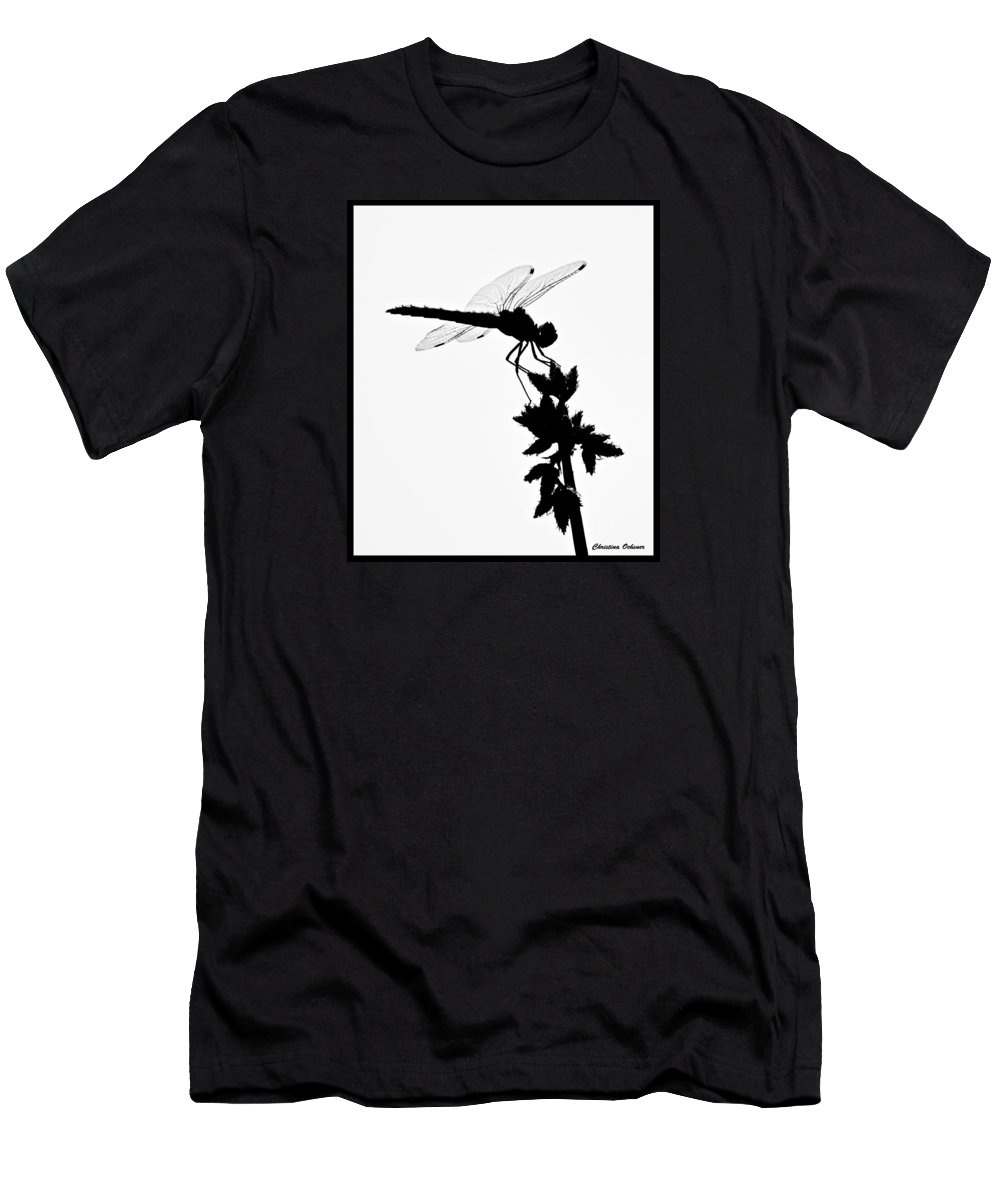 Dragonfly Silhouette Men's T-Shirt (Athletic Fit) featuring the photograph Dragonfly Silhouette by Christina Ochsner