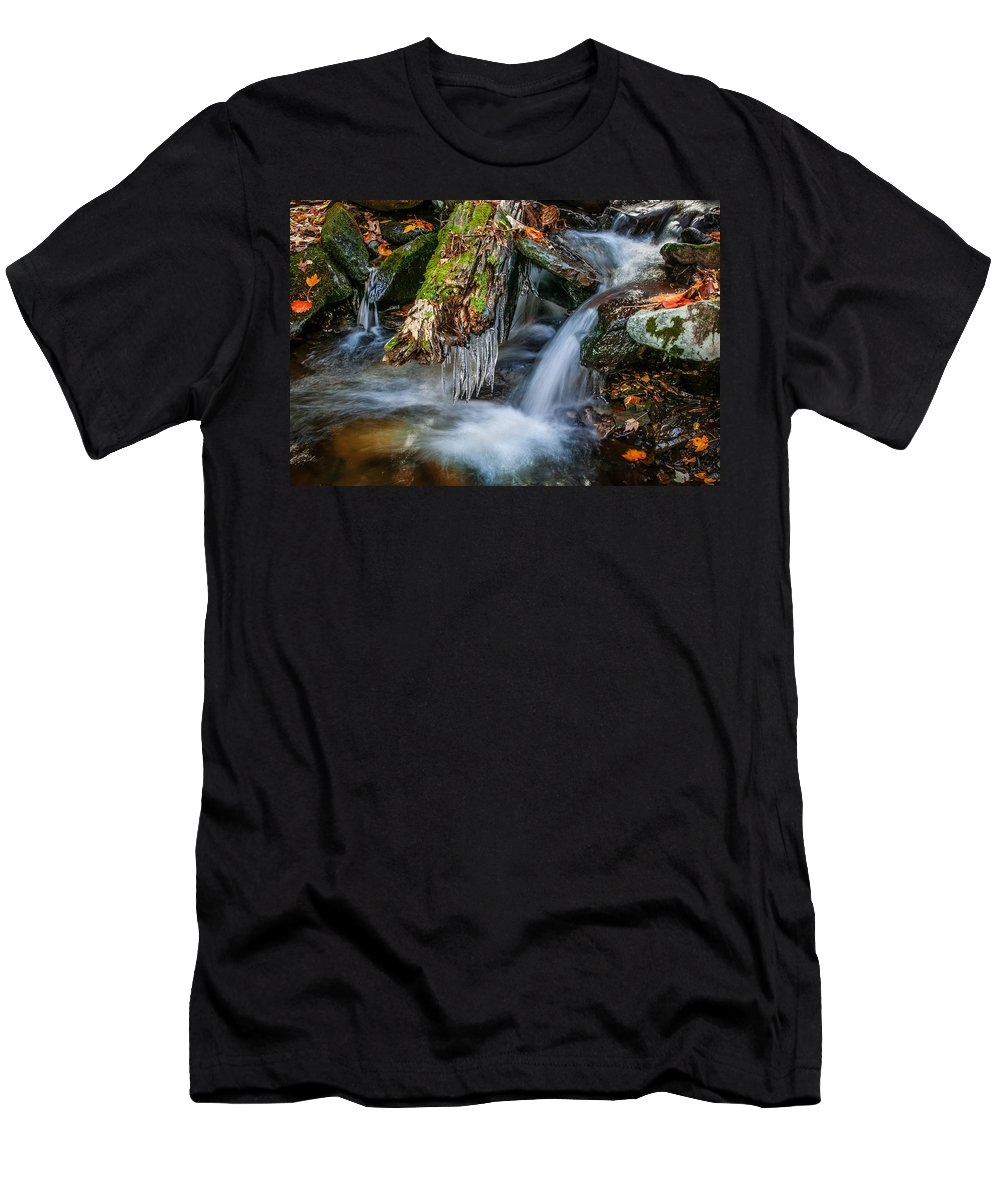 Waterfall Men's T-Shirt (Athletic Fit) featuring the photograph Dragons Teeth Icicles Waterfall Great Smoky Mountains by Rich Franco