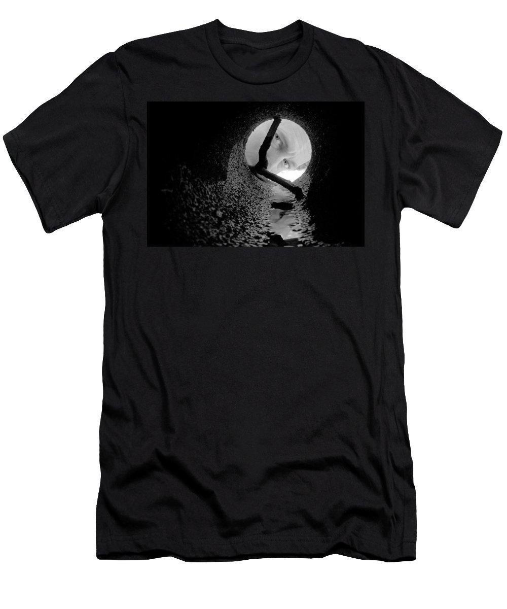 Portrait Men's T-Shirt (Athletic Fit) featuring the photograph Drain Pipe - Artist Self Portrait by Gary Heller
