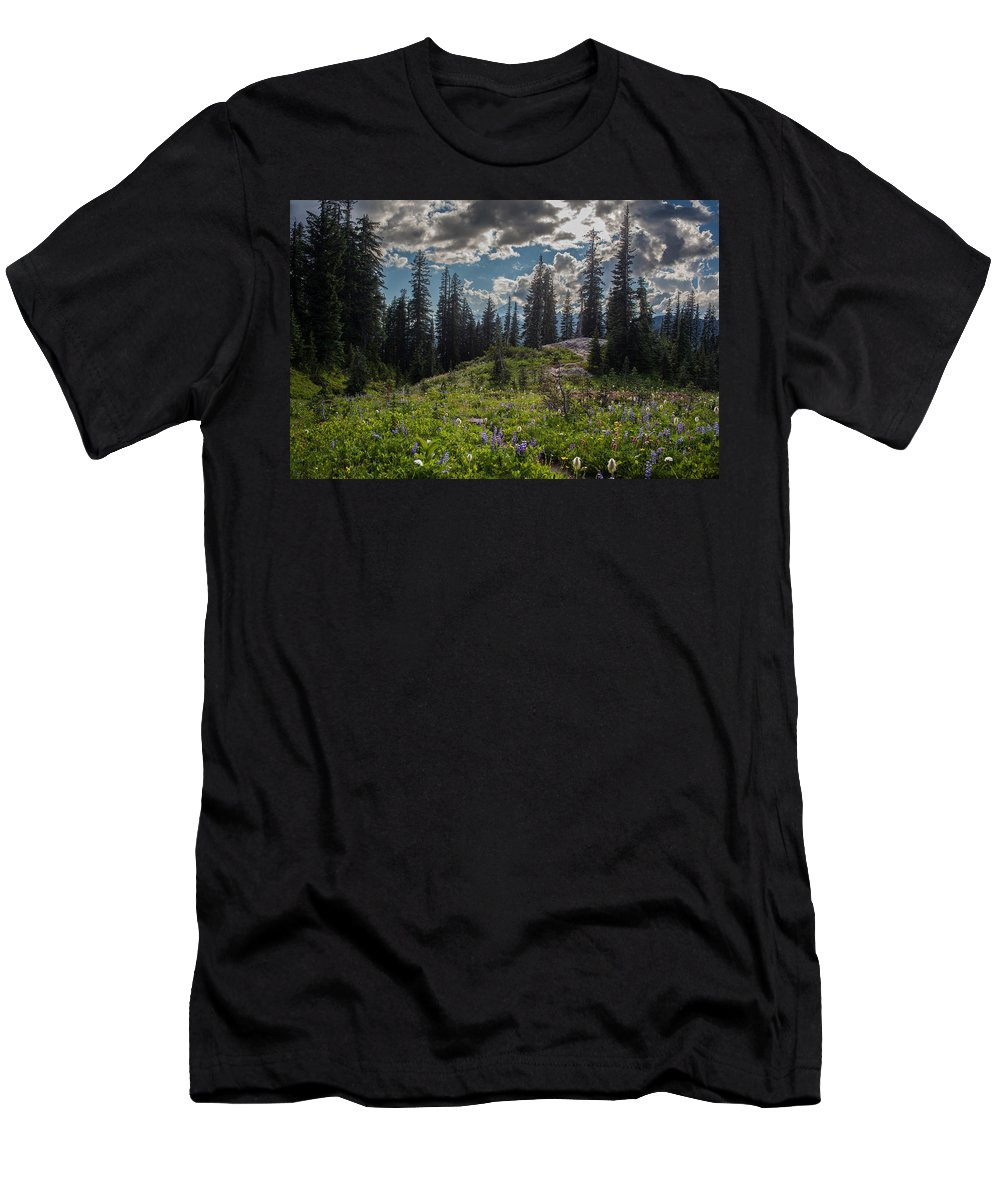 Rainier Men's T-Shirt (Athletic Fit) featuring the photograph Dramatic Rainier Flower Meadows by Mike Reid