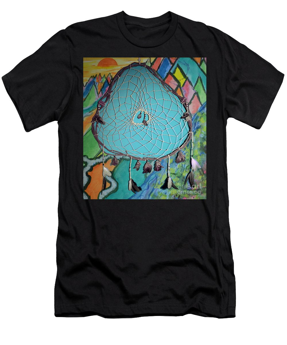 Dream Catcher Men's T-Shirt (Athletic Fit) featuring the mixed media Dream Time by Michelle S White
