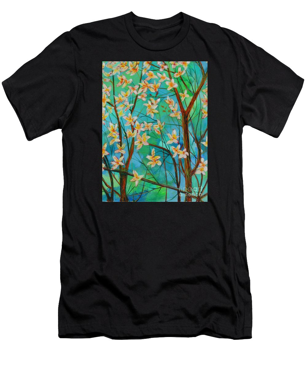 When I Paint Most Of The Time I Really Have Nothing On My Mind. I Hike With My 9 Year Old Grand Daughter In The Mountains Near By Men's T-Shirt (Athletic Fit) featuring the painting Dreaming. by Dan Whittemore