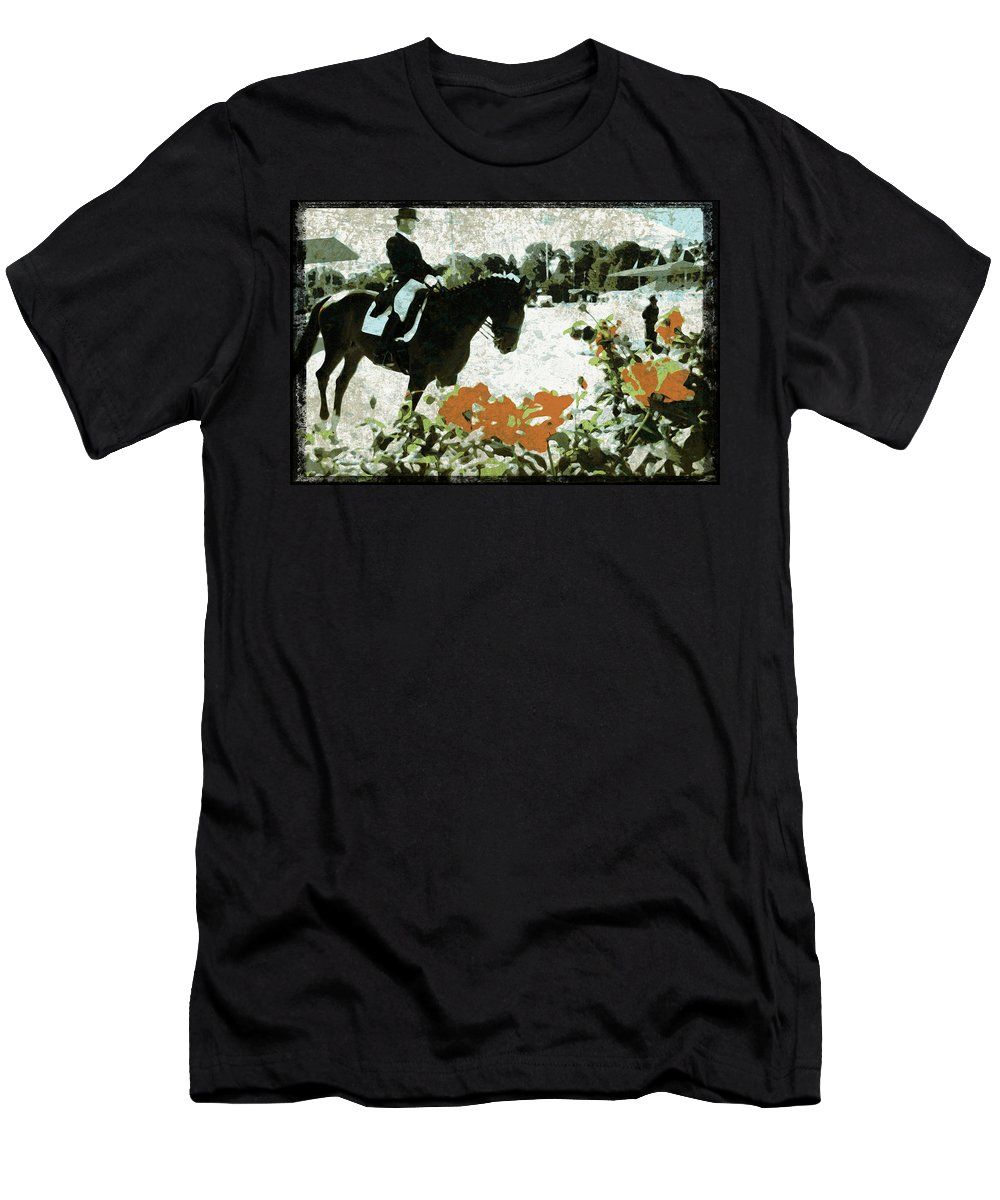 Dressage Horse Men's T-Shirt (Athletic Fit) featuring the photograph Dressage Roses by Alice Gipson
