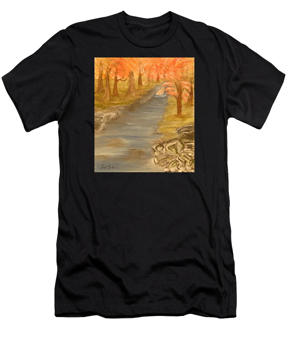 Forest Men's T-Shirt (Athletic Fit) featuring the painting Drifting Away by Suzanne Surber