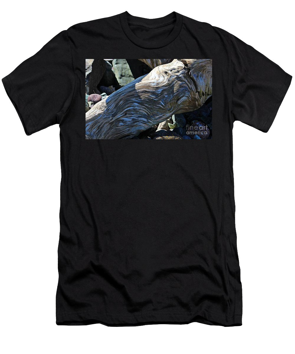 Driftwood Texture And Shadows Men's T-Shirt (Athletic Fit) featuring the photograph Driftwood Texture And Shadows by Barbara Griffin