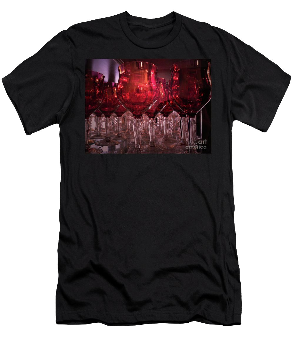 Glass Men's T-Shirt (Athletic Fit) featuring the photograph Drink Red by Angela Wright