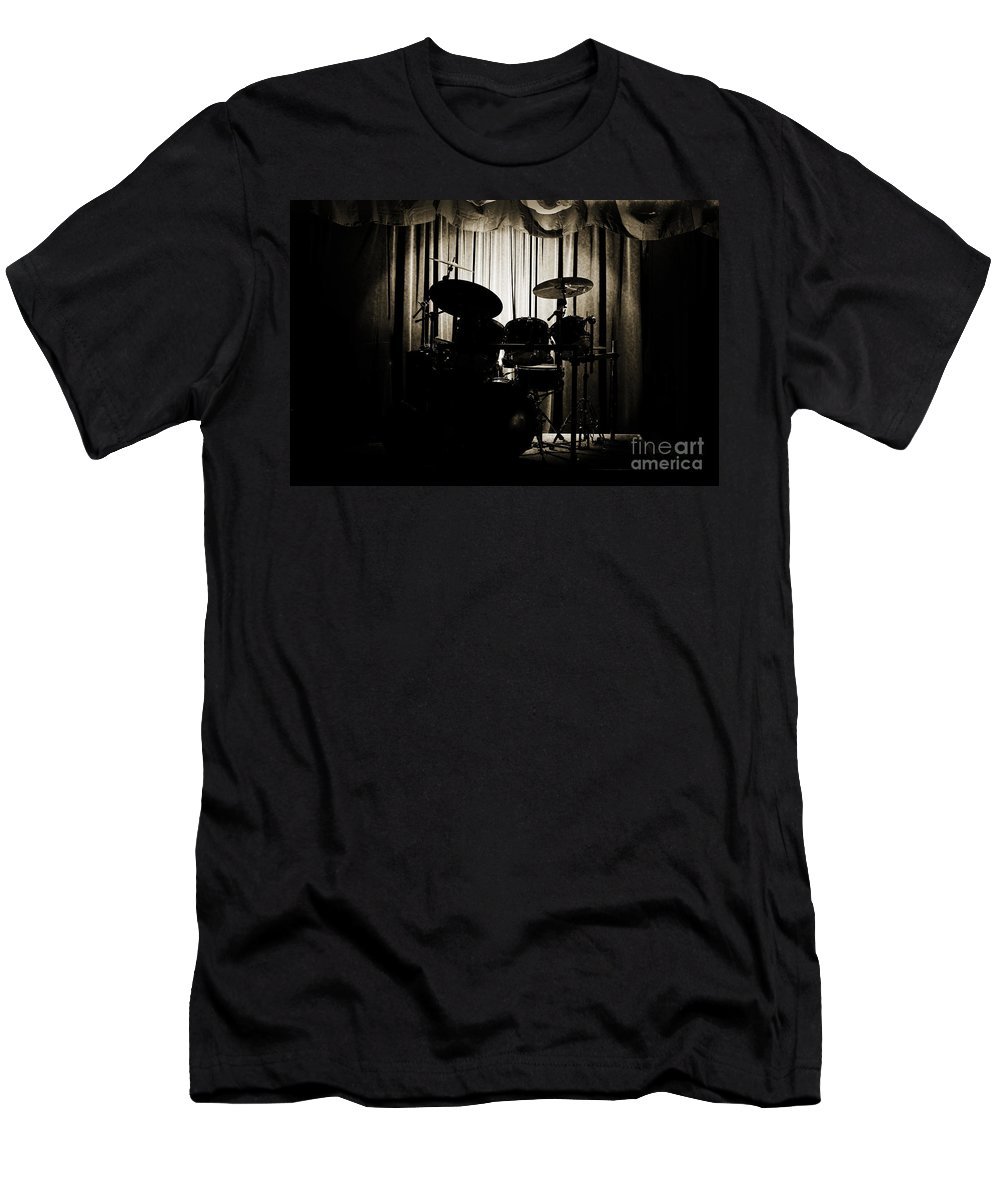 On Stage T-Shirt featuring the photograph Drum Set On Stage Photograph Combo Jazz Sepia 3234.01 by M K Miller