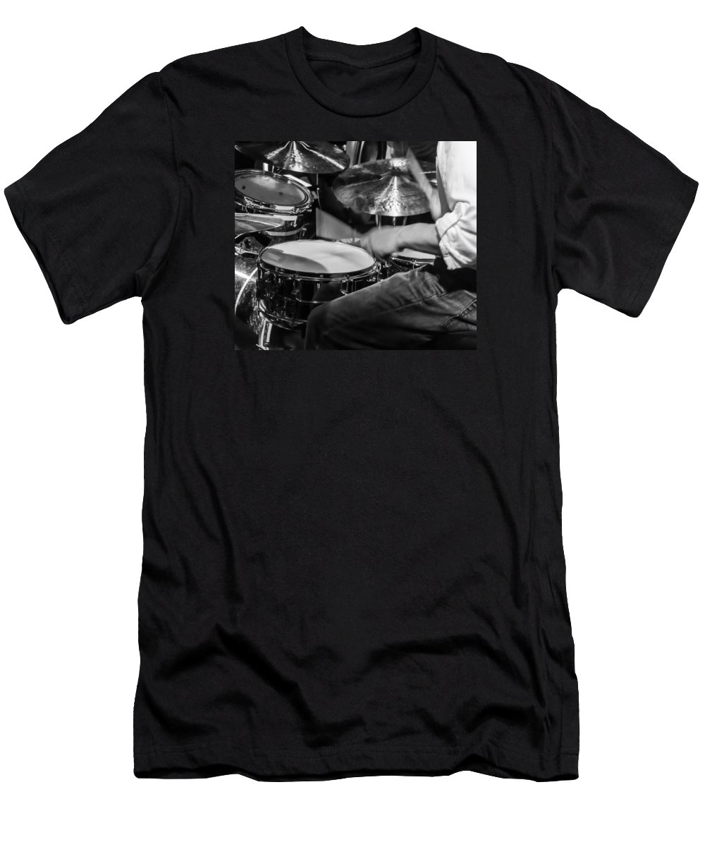 Drum Set T-Shirt featuring the photograph Drummer at work by Photographic Arts And Design Studio