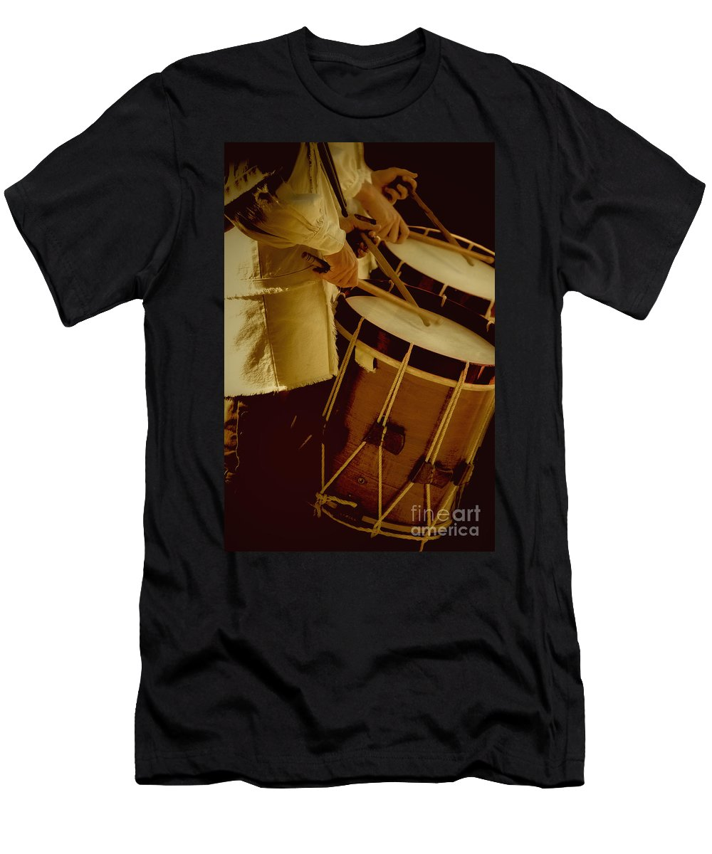 Caucasian; Male; Boy; Man; Uniform; Band; Drum; Drummer; Instrument; Music; Bang; Concert; Drum Sticks; Sticks; Hold; Holding; March; Marching; Hands; Play; Playing; Percussion; Drum Core; Core; Line; Row; 1700s Men's T-Shirt (Athletic Fit) featuring the photograph Drummers by Margie Hurwich
