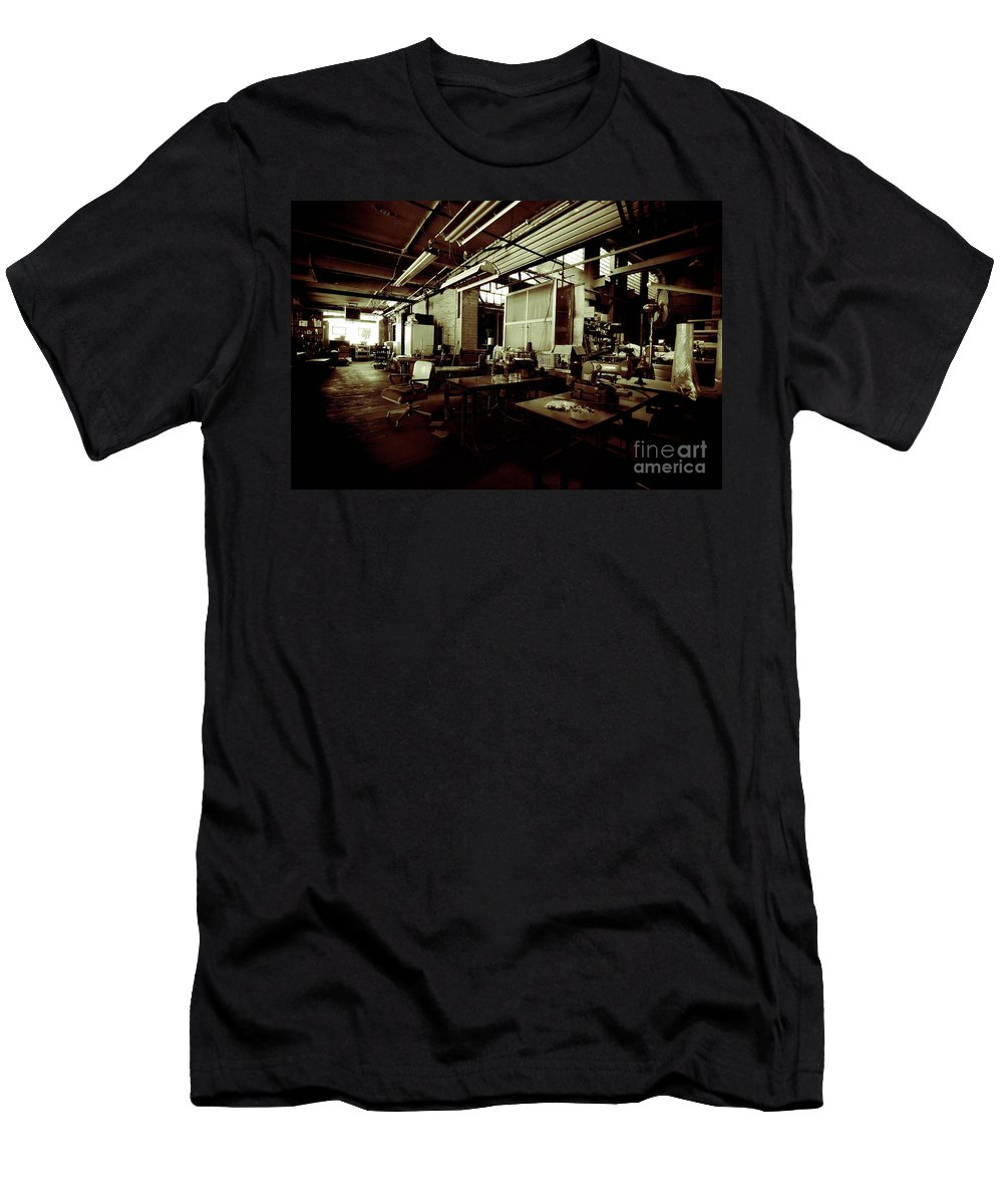 Alterations Men's T-Shirt (Athletic Fit) featuring the photograph Dry Cleaning Plant by Amy Cicconi