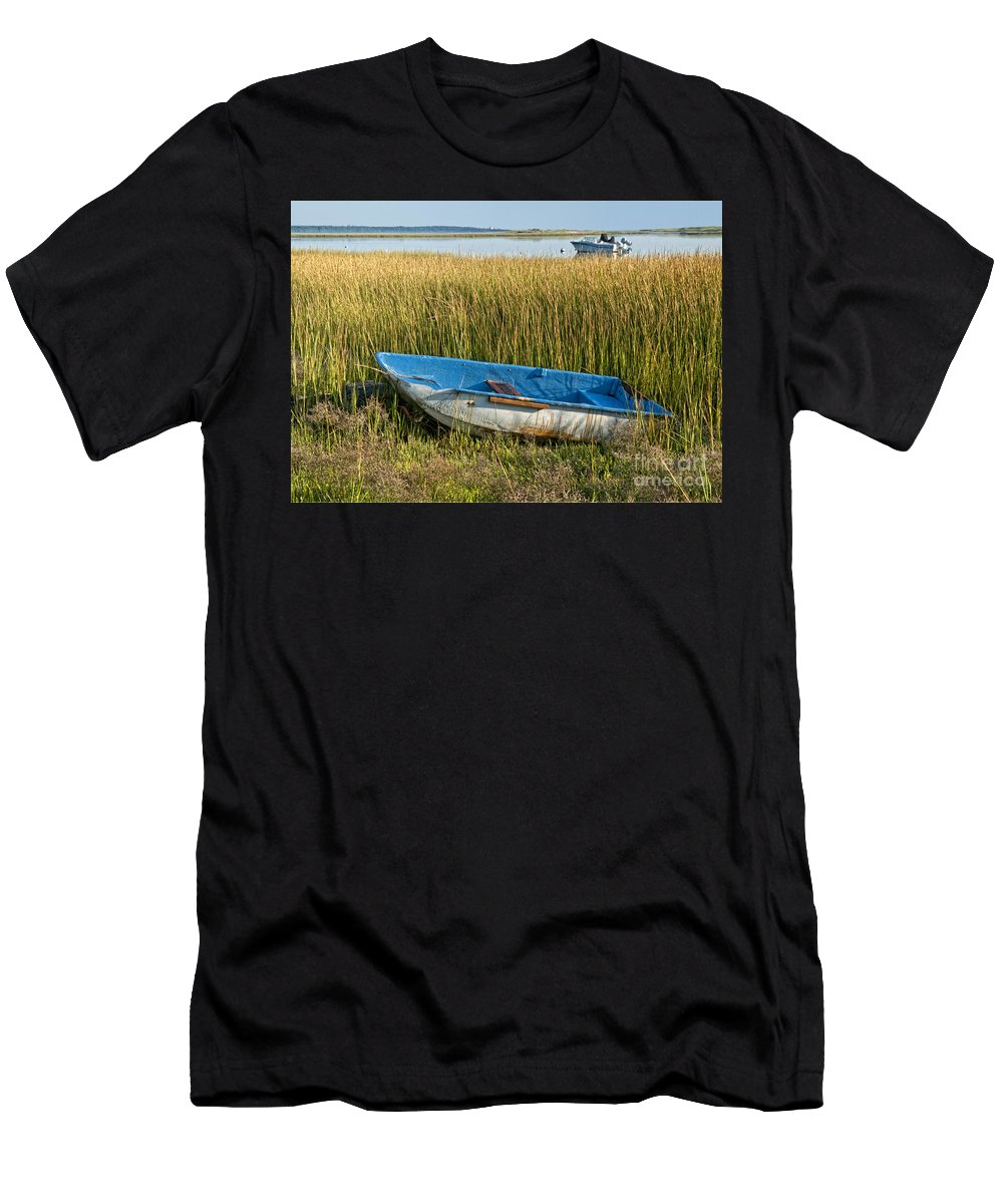Rowboat Men's T-Shirt (Athletic Fit) featuring the photograph Dry Docked by Claudia Kuhn
