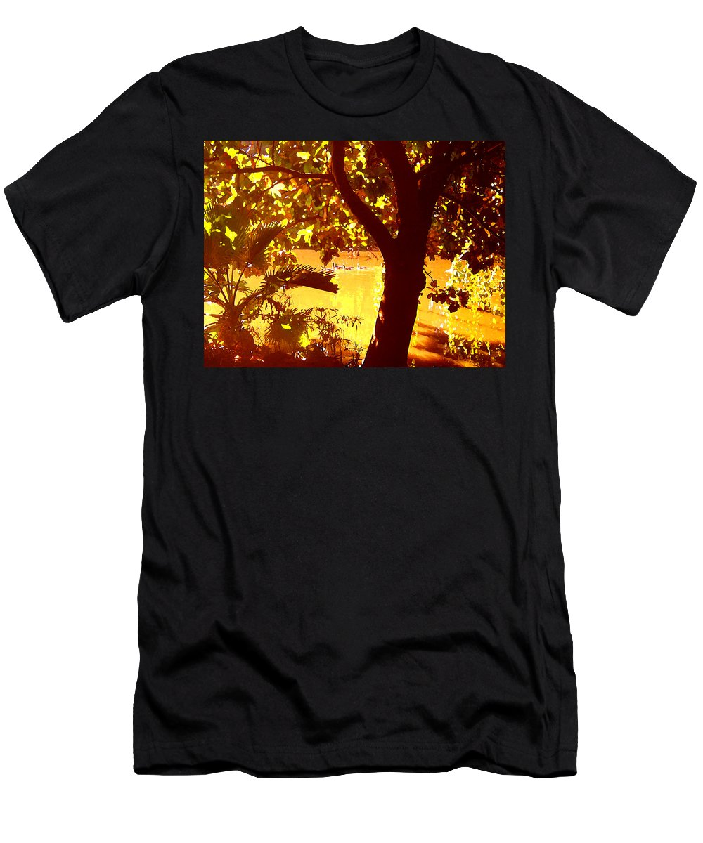 Landscapes Men's T-Shirt (Athletic Fit) featuring the painting Ducks Swimming In The Distance by Amy Vangsgard
