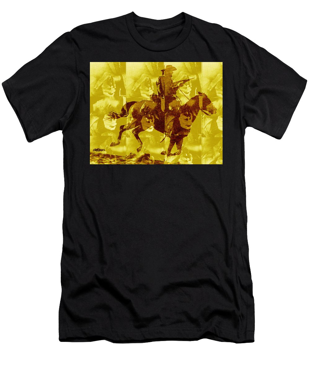 Clint Eastwood Men's T-Shirt (Athletic Fit) featuring the digital art Duel In The Saddle 1 by Seth Weaver