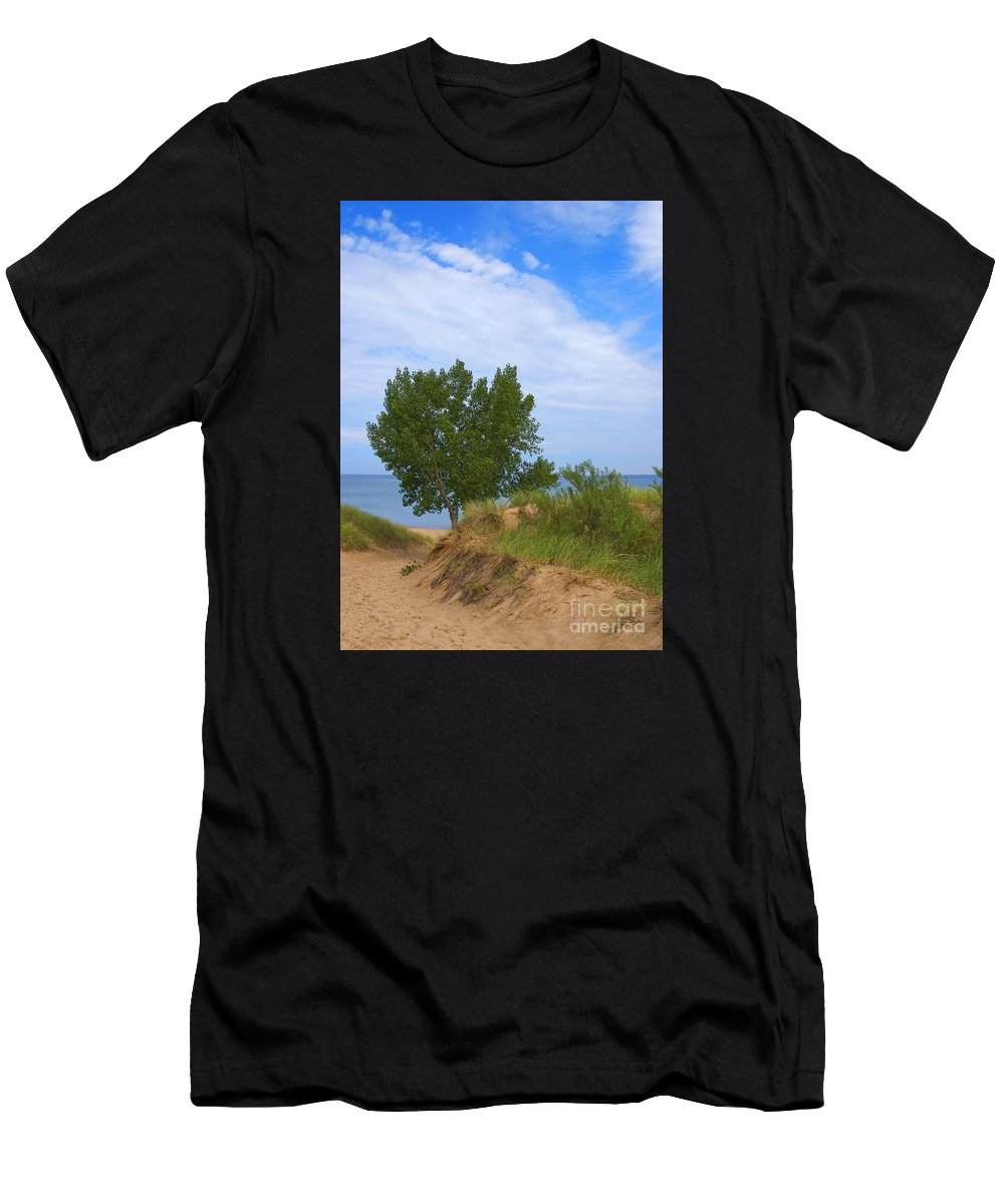 Dune Men's T-Shirt (Athletic Fit) featuring the photograph Dune - Indiana Lakeshore by Ann Horn