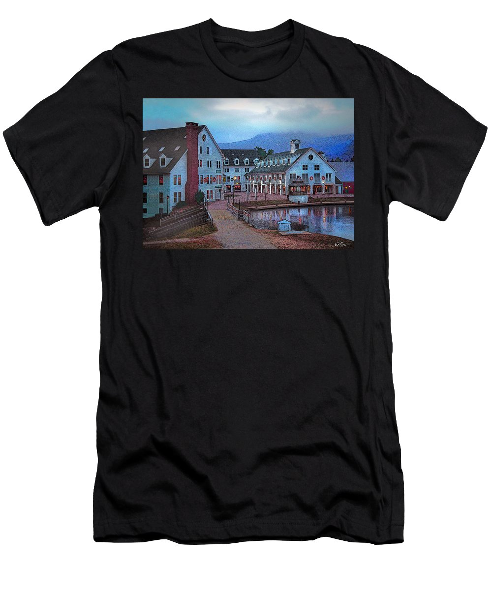 Waterville Valley Men's T-Shirt (Athletic Fit) featuring the digital art Dusk Before Snow At Town Square by Nancy Griswold