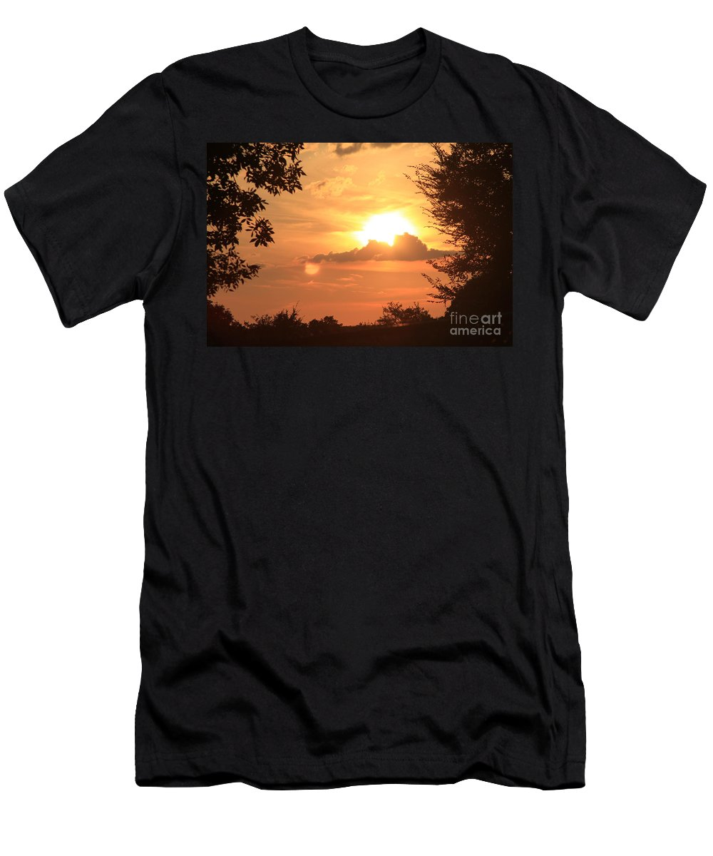 Dusk In The Trees Men's T-Shirt (Athletic Fit) featuring the digital art Dusk In The Trees by L L L
