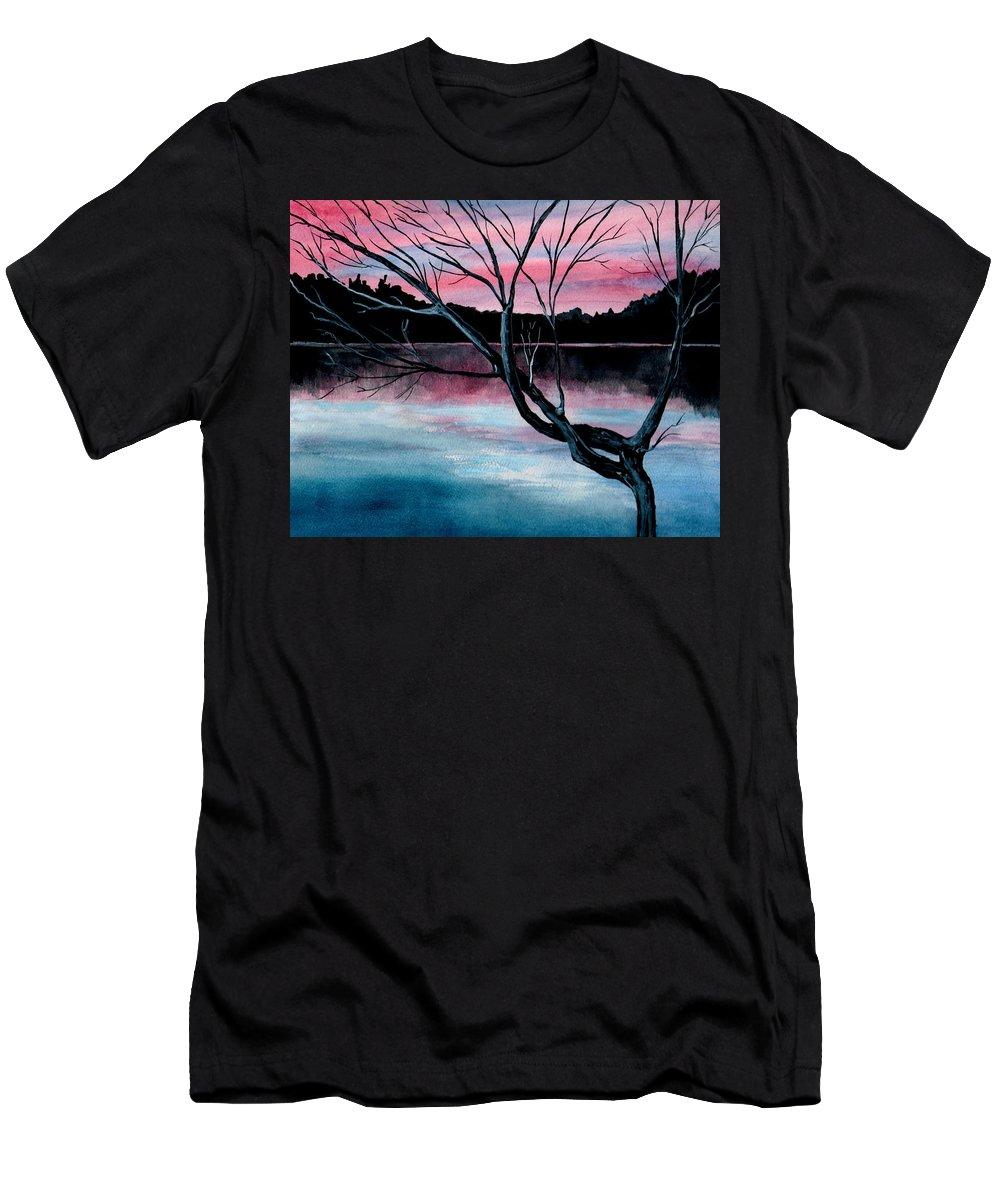 Landscape Men's T-Shirt (Athletic Fit) featuring the painting Dusk Lake Arrowhead Maine by Brenda Owen