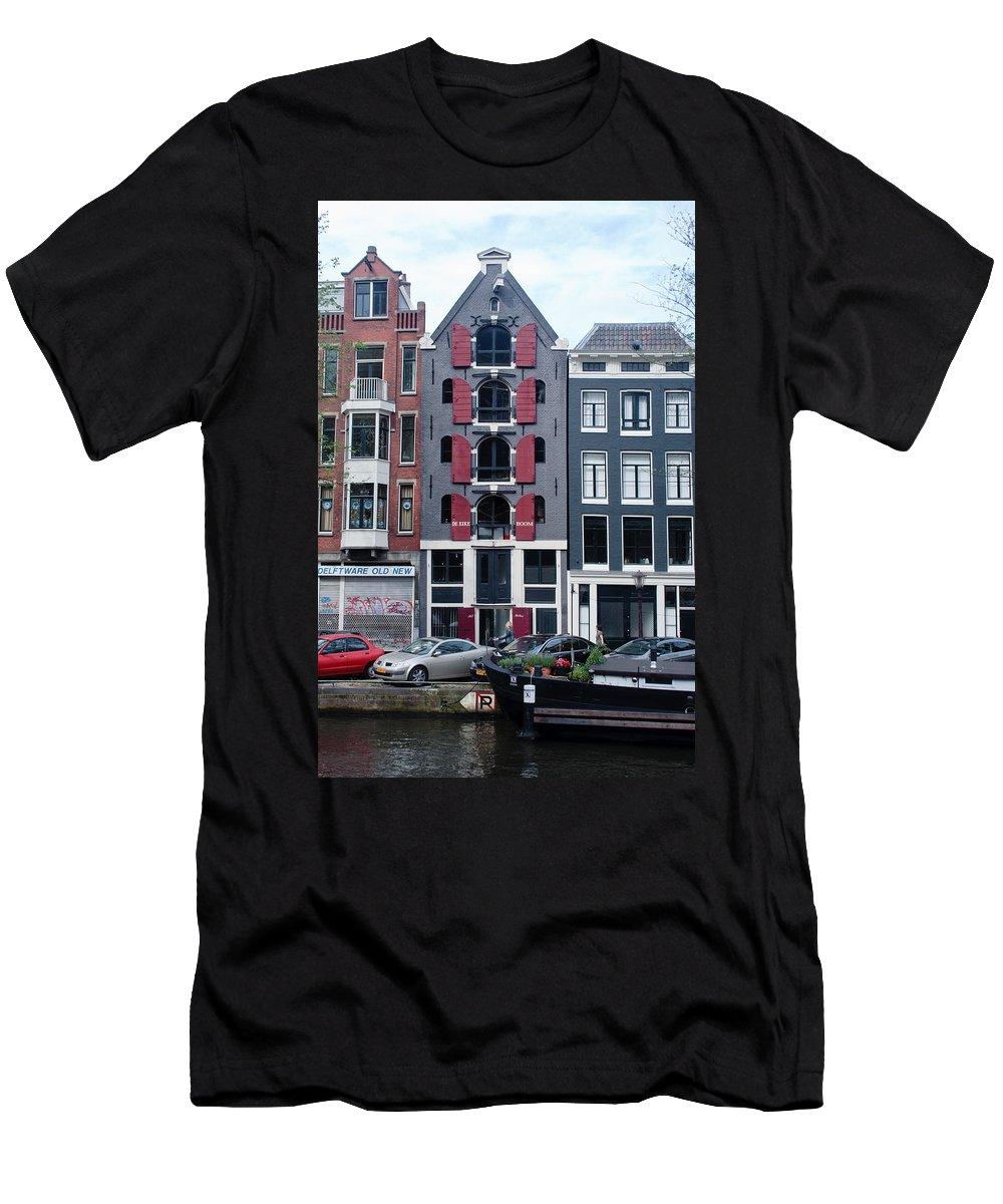 Amsterdam Men's T-Shirt (Athletic Fit) featuring the photograph Dutch Canal House by Thomas Marchessault