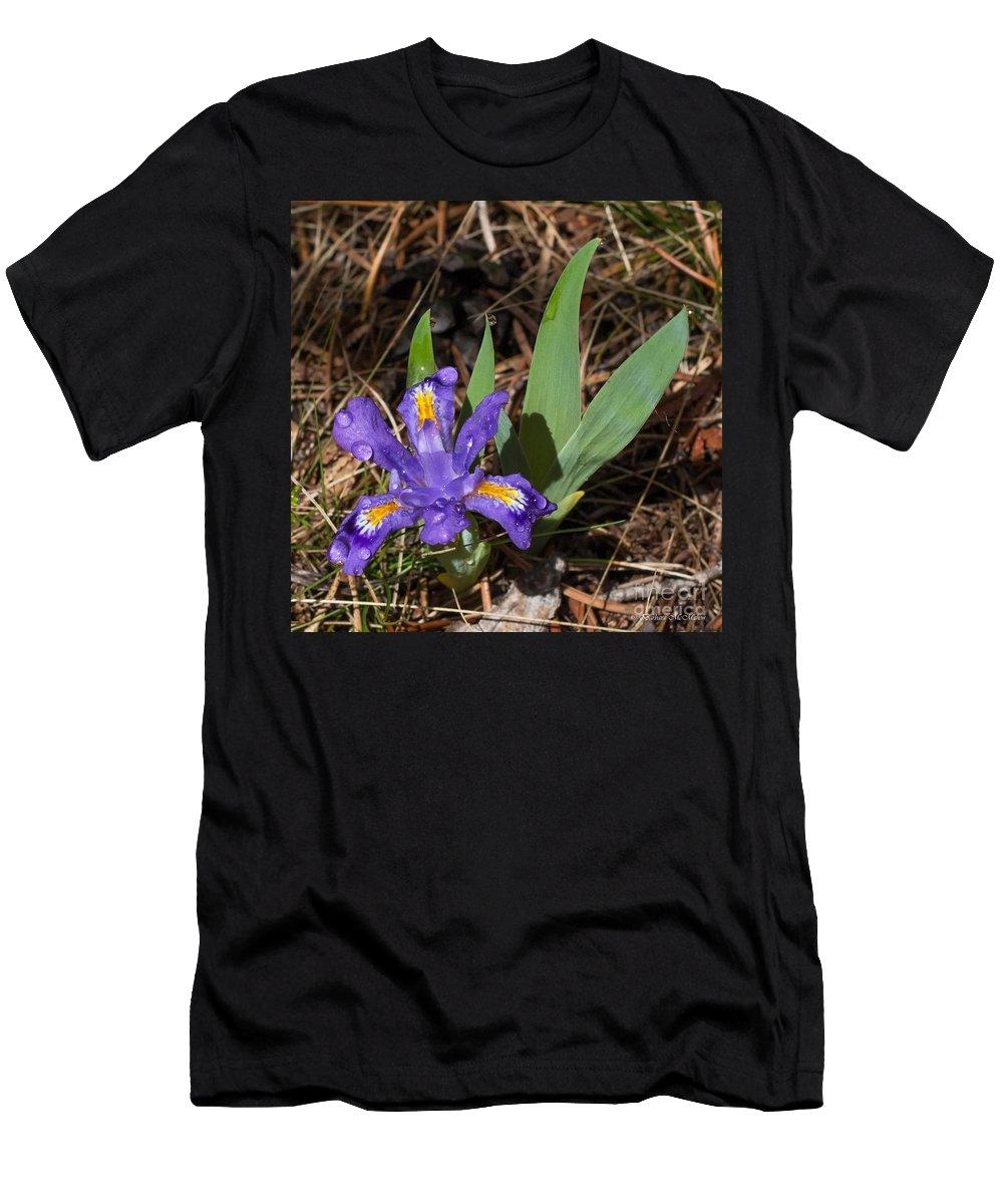 Dwarf Wild Iris Men's T-Shirt (Athletic Fit) featuring the photograph Dwarf Lake Iris by Barbara McMahon