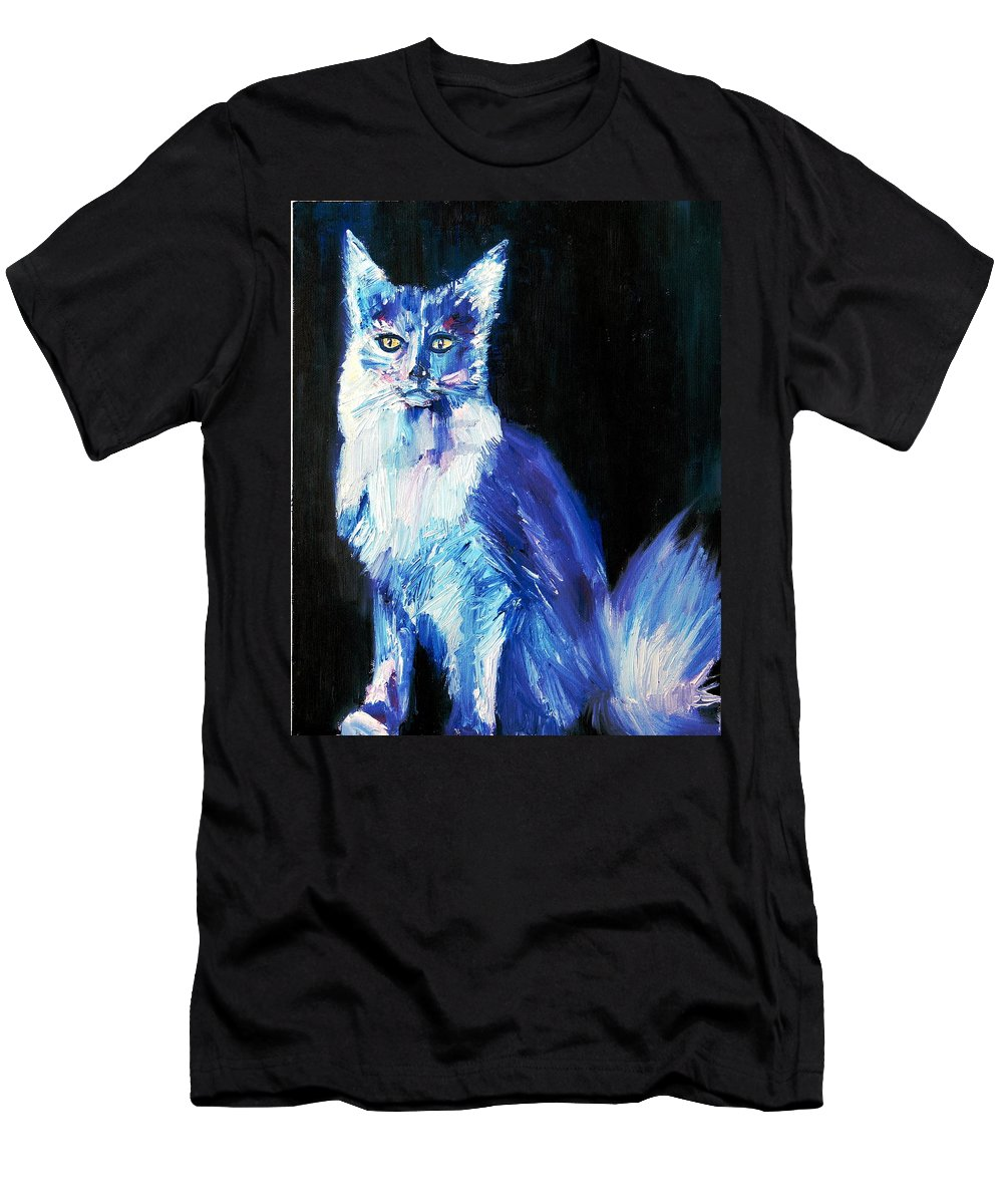 Cat Men's T-Shirt (Athletic Fit) featuring the painting Each Act Was A Perfection And A Joy by Fabrizio Cassetta