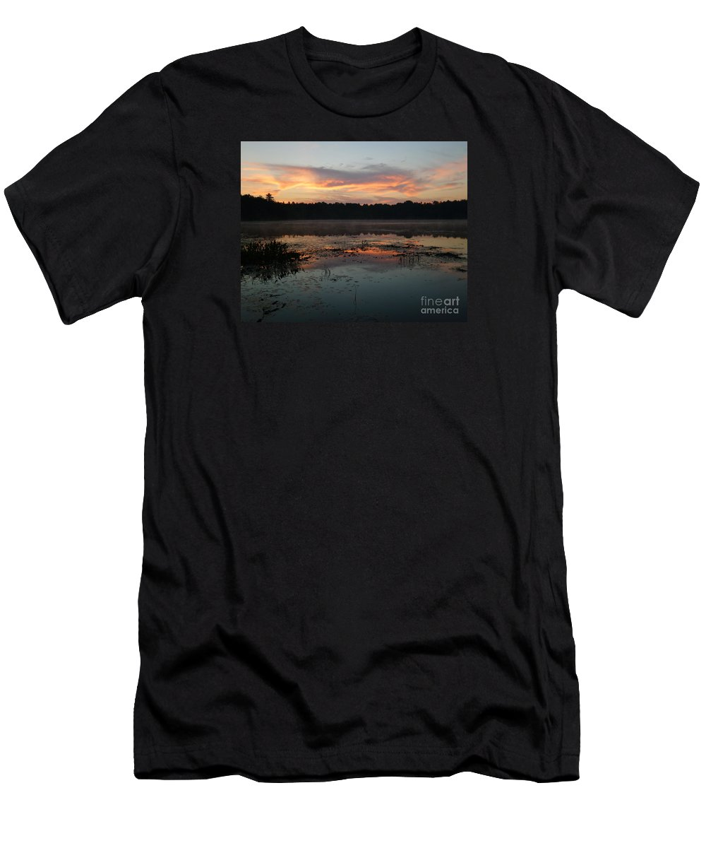 Sunrise Men's T-Shirt (Athletic Fit) featuring the photograph Eagle River Sunrise No.5 by PJ Boylan