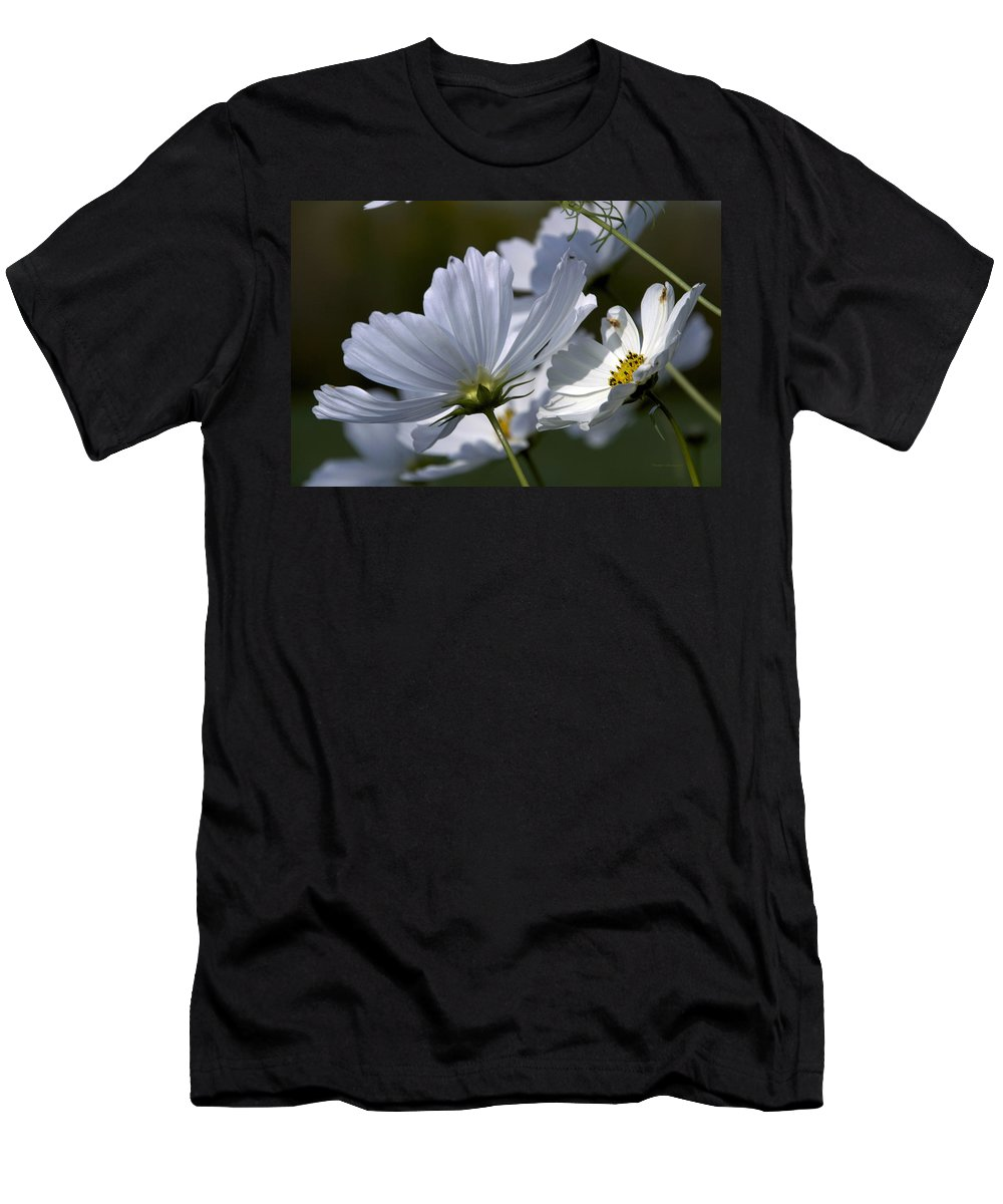 Flower Men's T-Shirt (Athletic Fit) featuring the photograph Early Dawns Light On Fall Flowers 02 by Thomas Woolworth