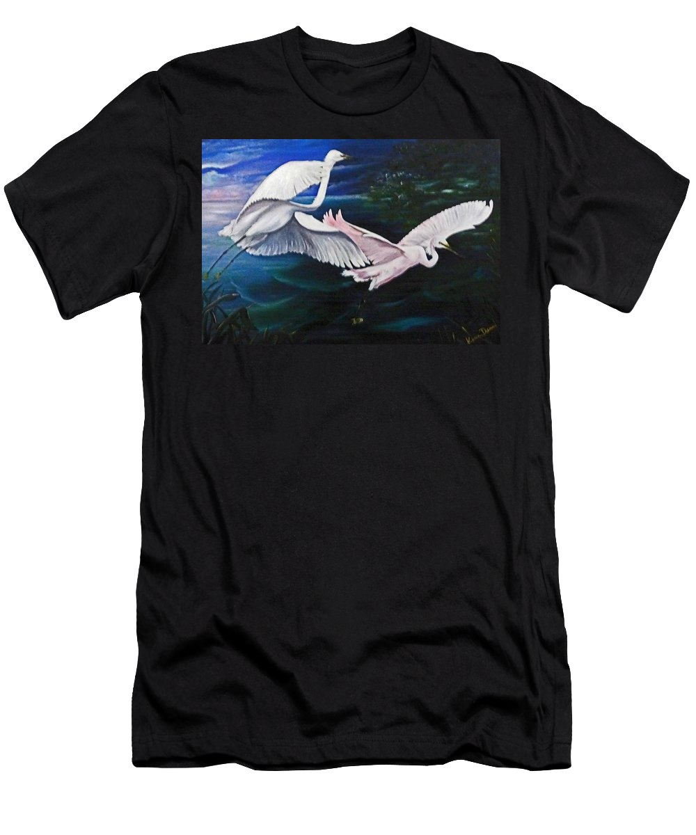 Snowy Egrets Men's T-Shirt (Athletic Fit) featuring the painting Early Flight by Karin Dawn Kelshall- Best