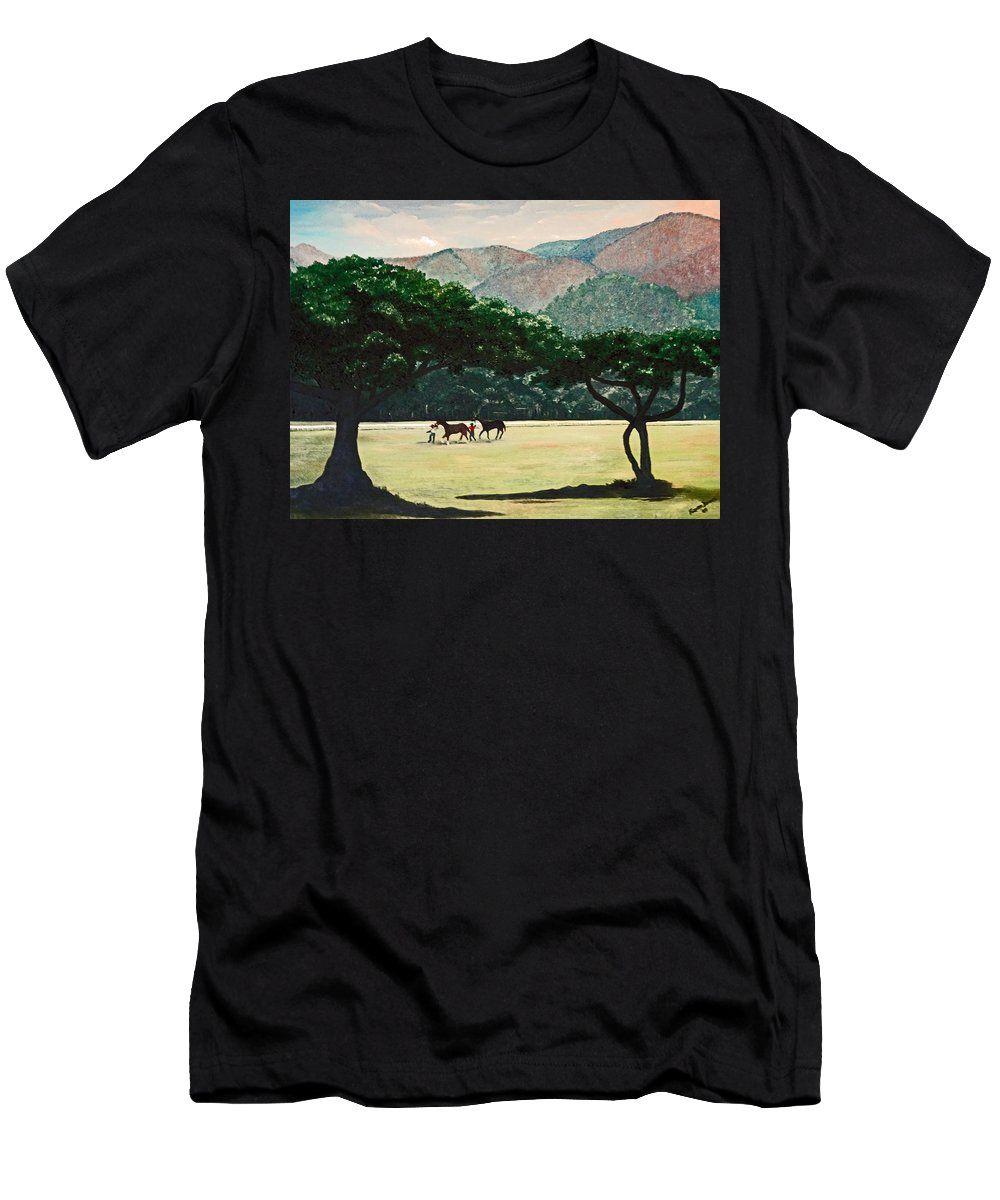 Trees Men's T-Shirt (Athletic Fit) featuring the painting Early Morning Savannah by Karin Dawn Kelshall- Best