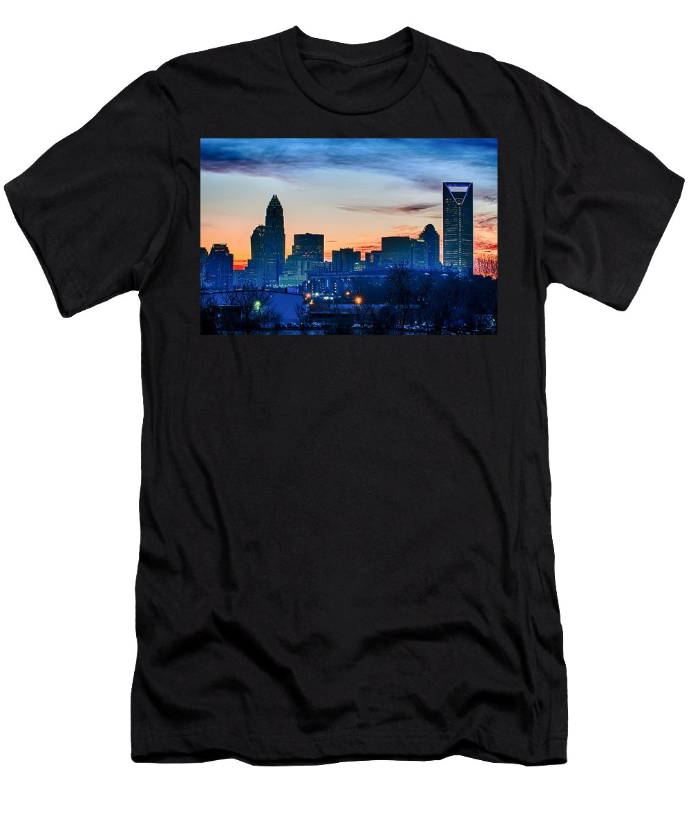 Early Men's T-Shirt (Athletic Fit) featuring the photograph Early Morning Sunrise Over Charlotte City Skyline Downtown by Alex Grichenko
