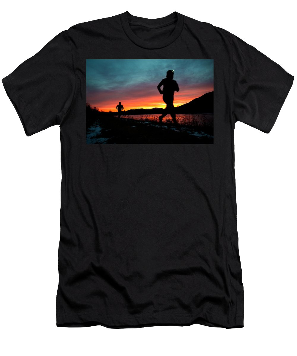 50-54 Years Men's T-Shirt (Athletic Fit) featuring the photograph Early Morning Trail Running by Joe Klementovich