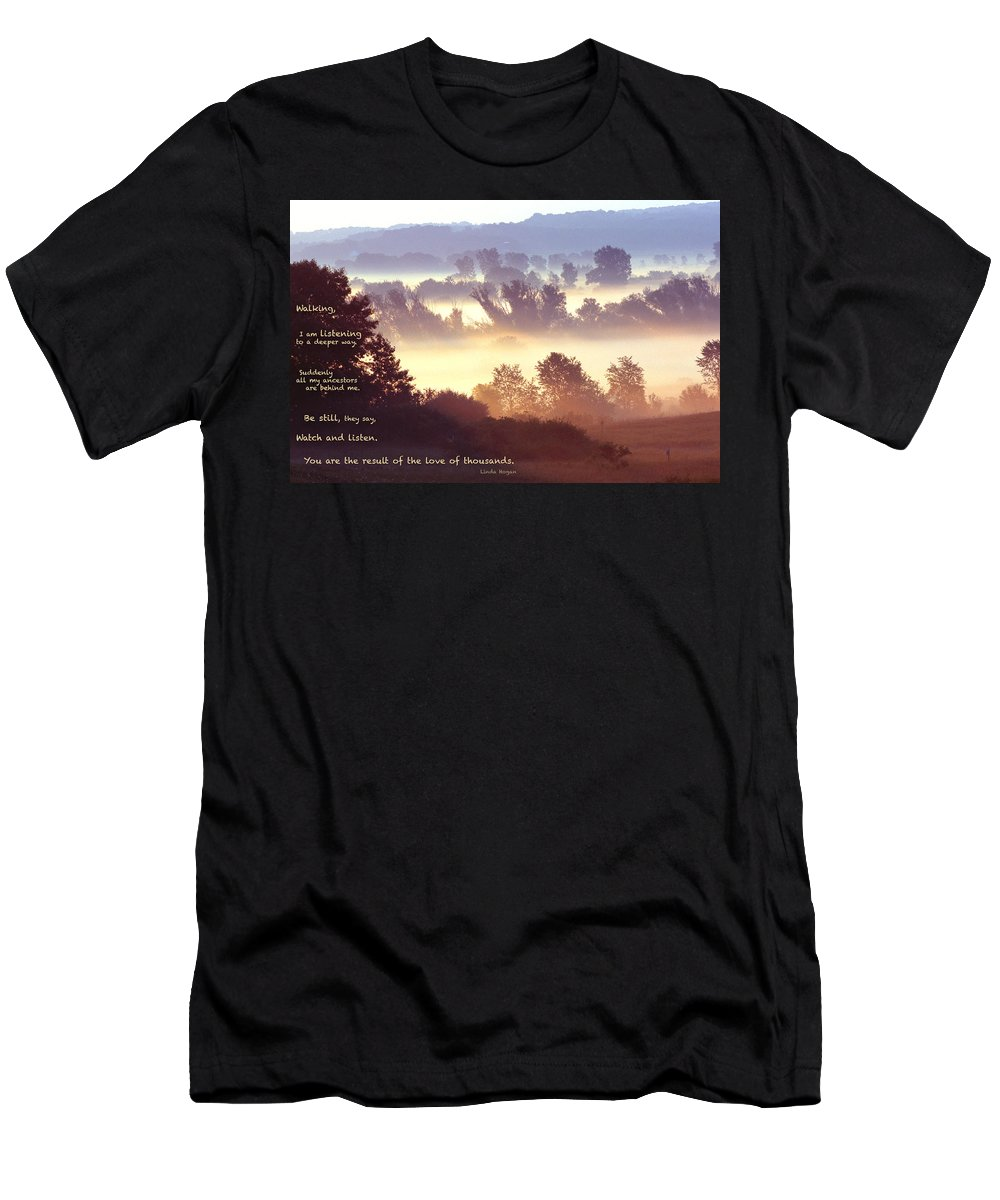 Fog Men's T-Shirt (Athletic Fit) featuring the photograph Early Morning Walk Photo With Quote- Brooklyn Ice Age Trail by Bernard Lynch