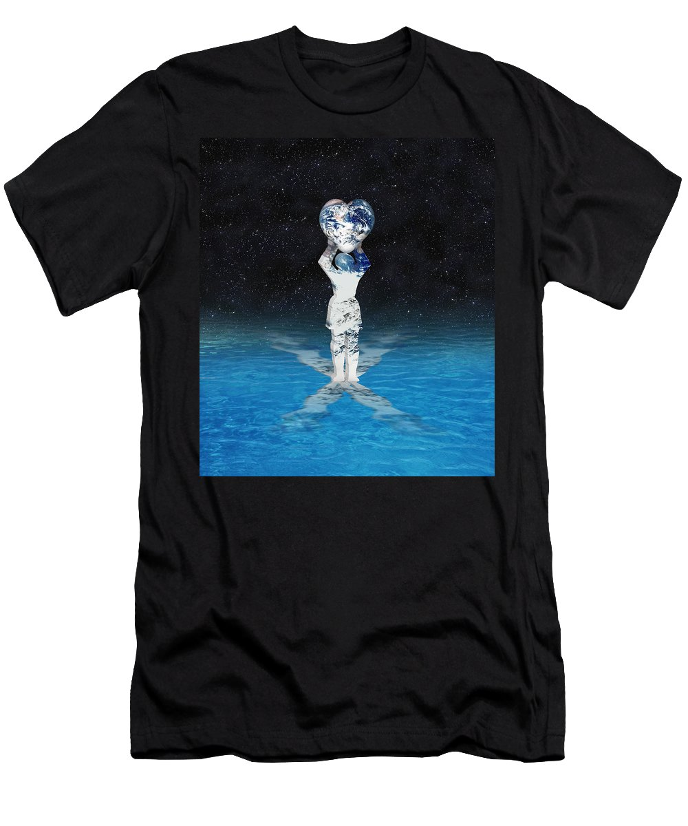 Surreal Men's T-Shirt (Athletic Fit) featuring the digital art Earth Heart Holder by Gravityx9 Designs